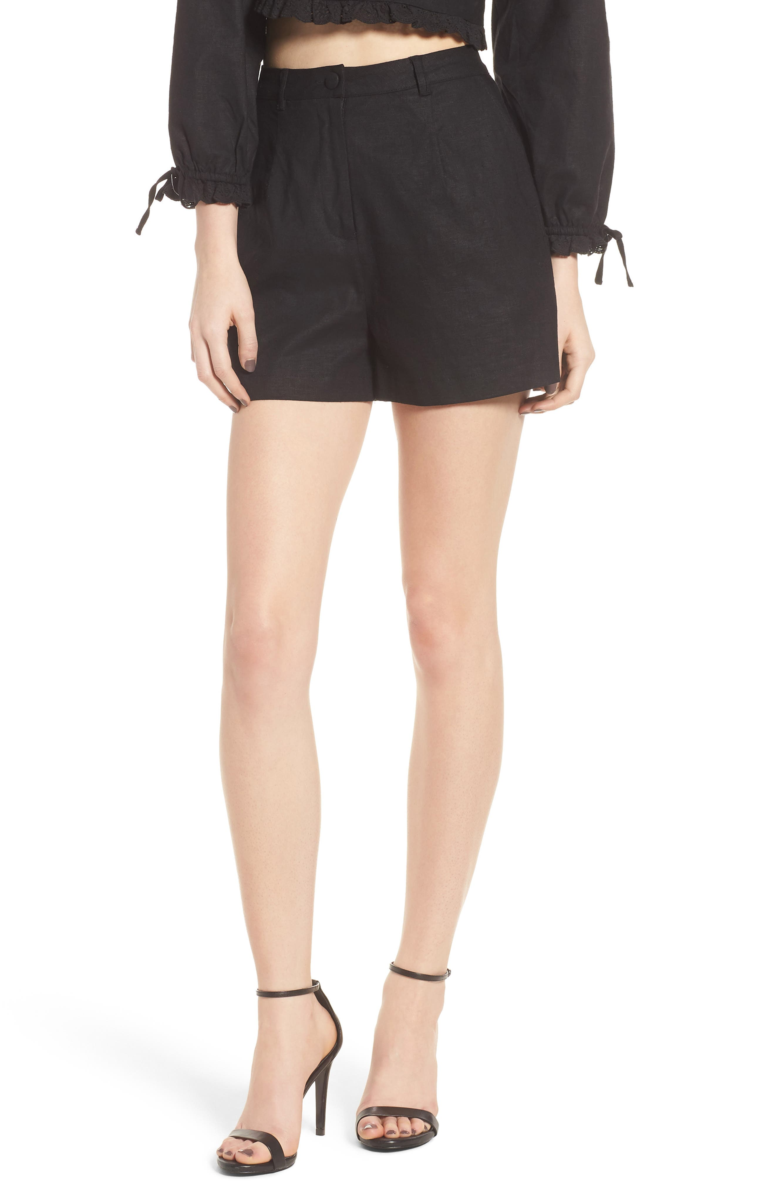 LOVERS + FRIENDS Tracy High Waist Shorts, Main, color, 001
