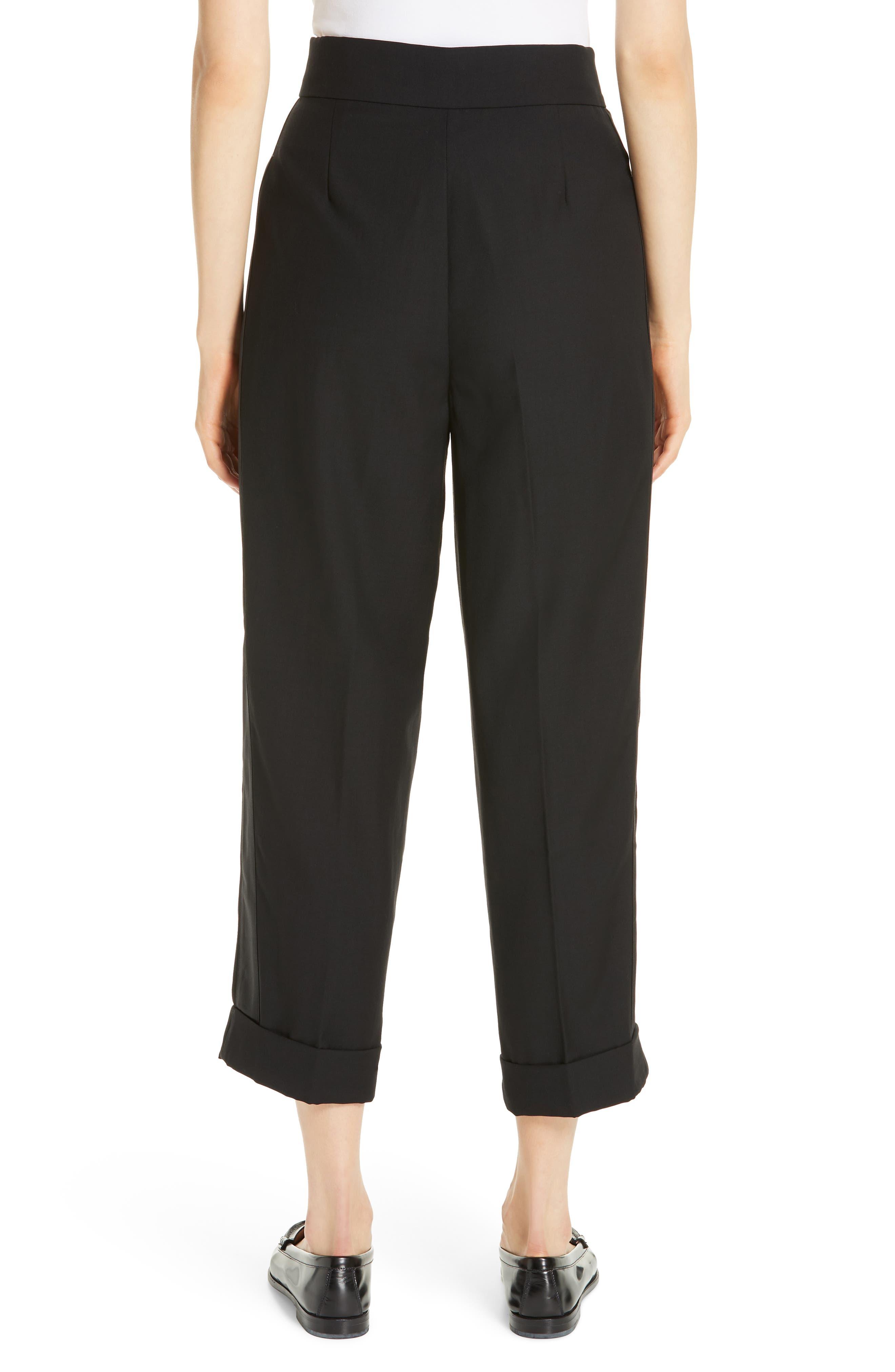 Satin Stripe Wool Crop Pants,                             Alternate thumbnail 2, color,                             POLO BLACK