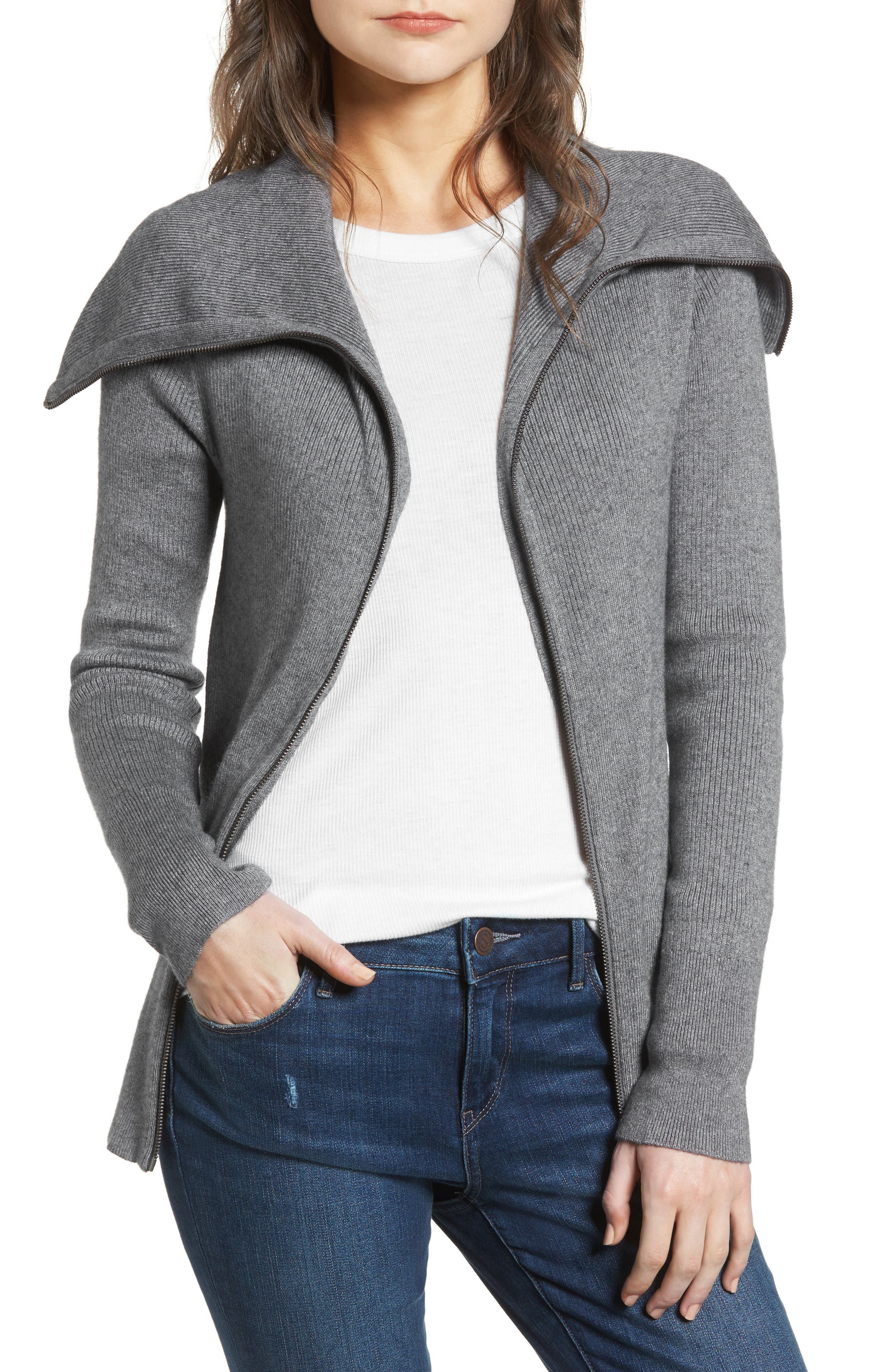 Wide Collar Zip Sweater,                         Main,                         color,