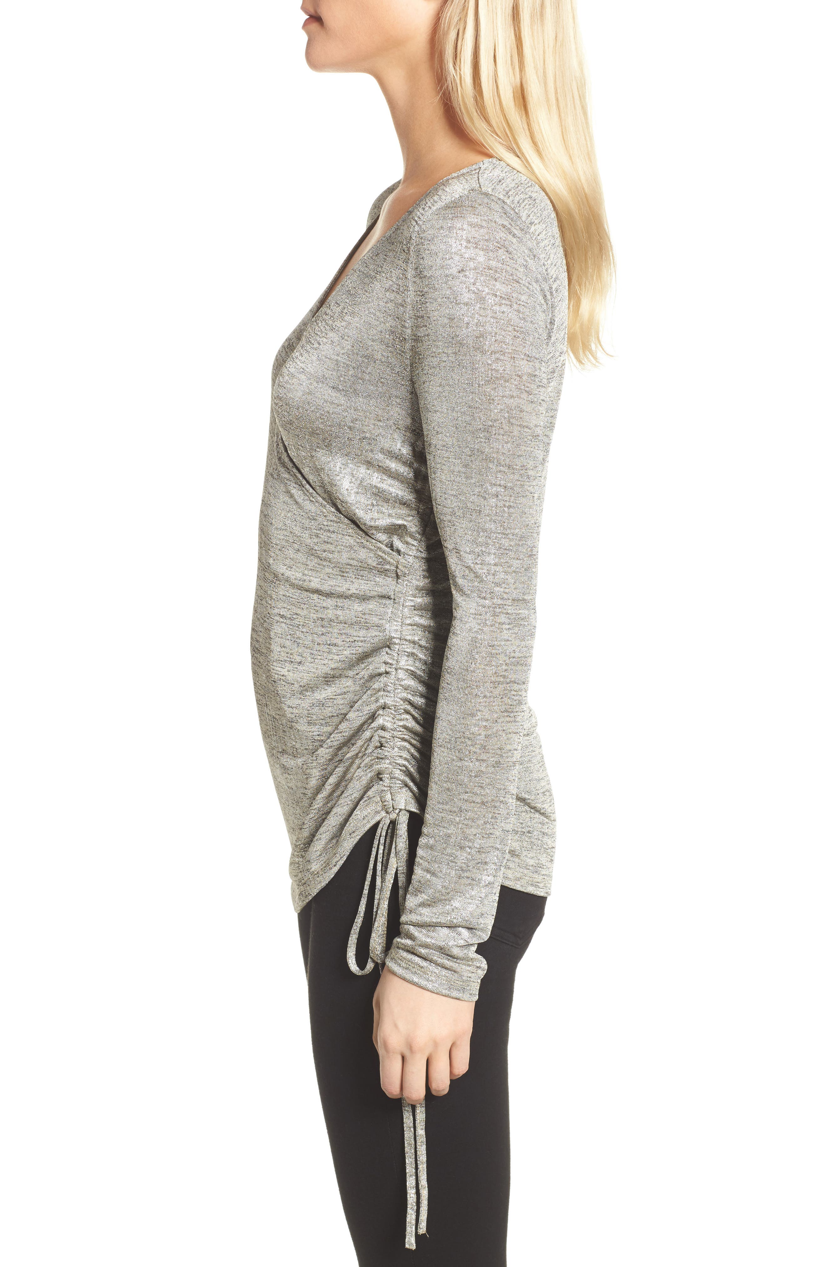 Ruched Metallic Top,                             Alternate thumbnail 3, color,                             040
