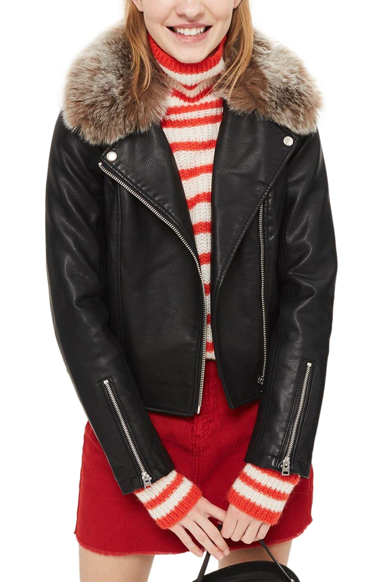 Rayne Faux Fur Trim Biker Jacket,                         Main,                         color, 001