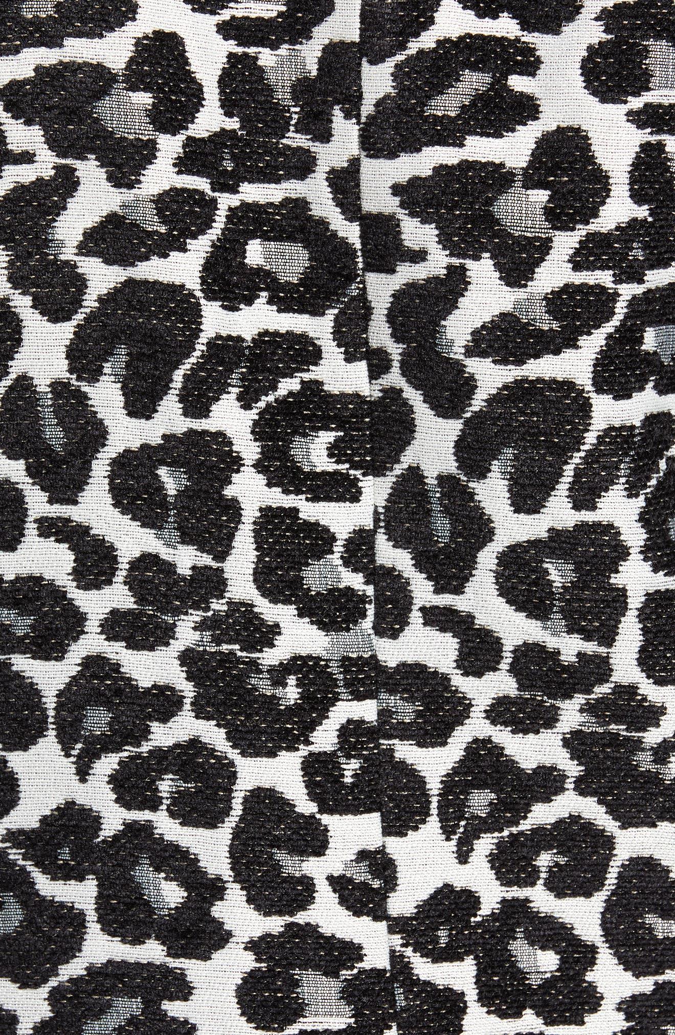 Leopard Coat,                             Alternate thumbnail 7, color,                             BLACK- WHITE LEOPARD