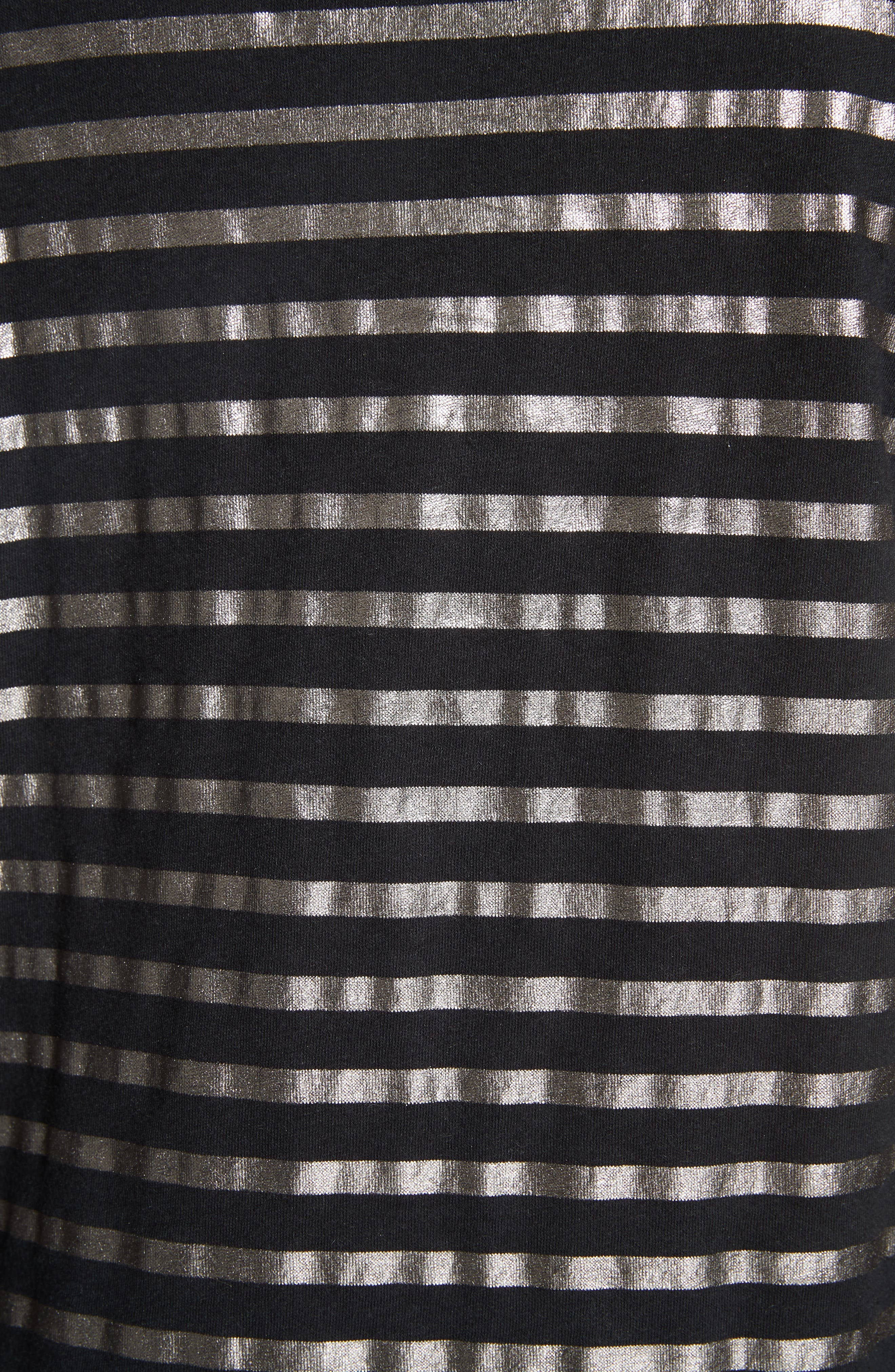 Boxy Stripe Top,                             Alternate thumbnail 5, color,                             NOIR/ GUN METAL