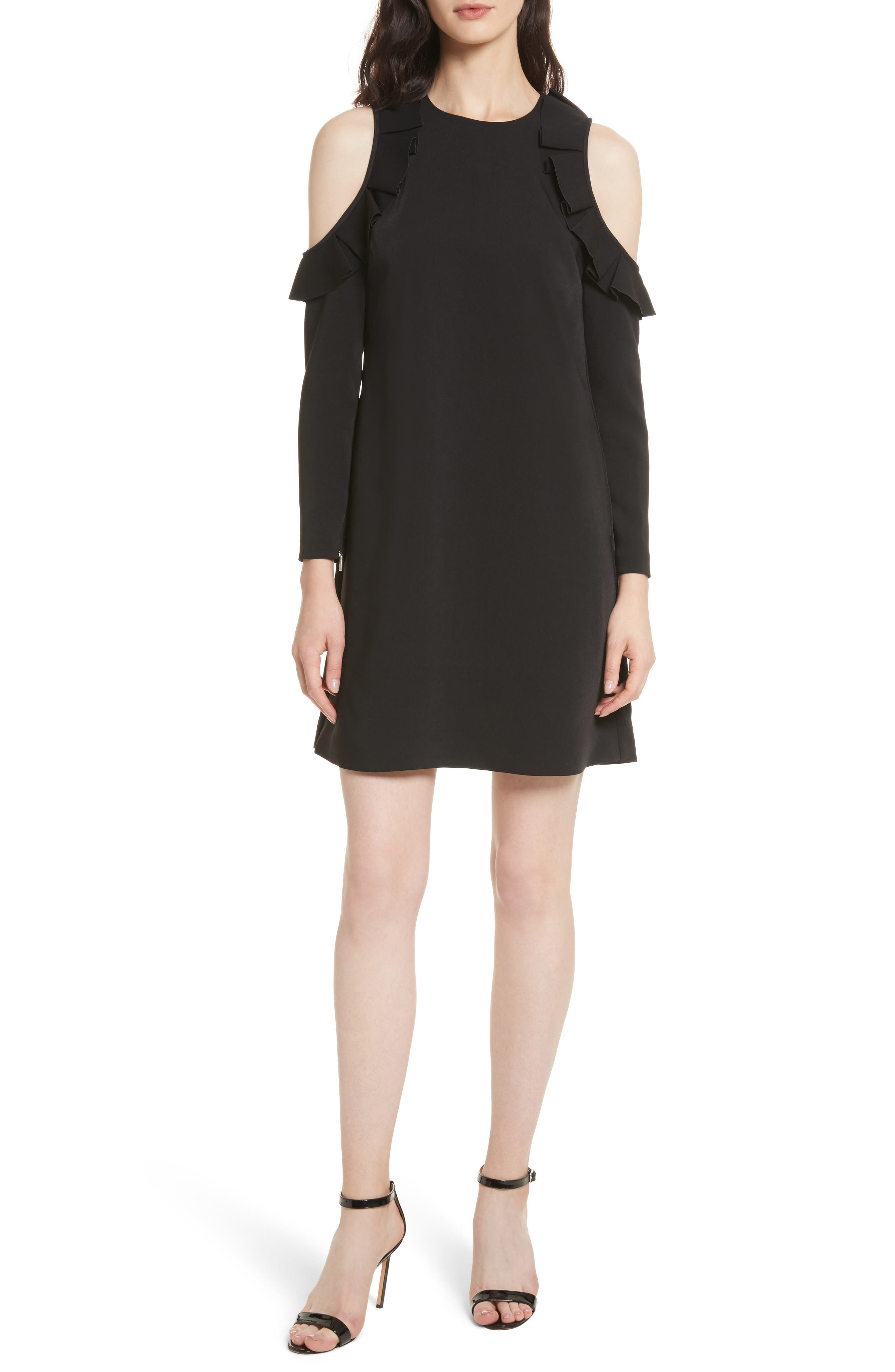 Siiara Frill Cold Shoulder Shift Dress,                             Main thumbnail 1, color,                             001