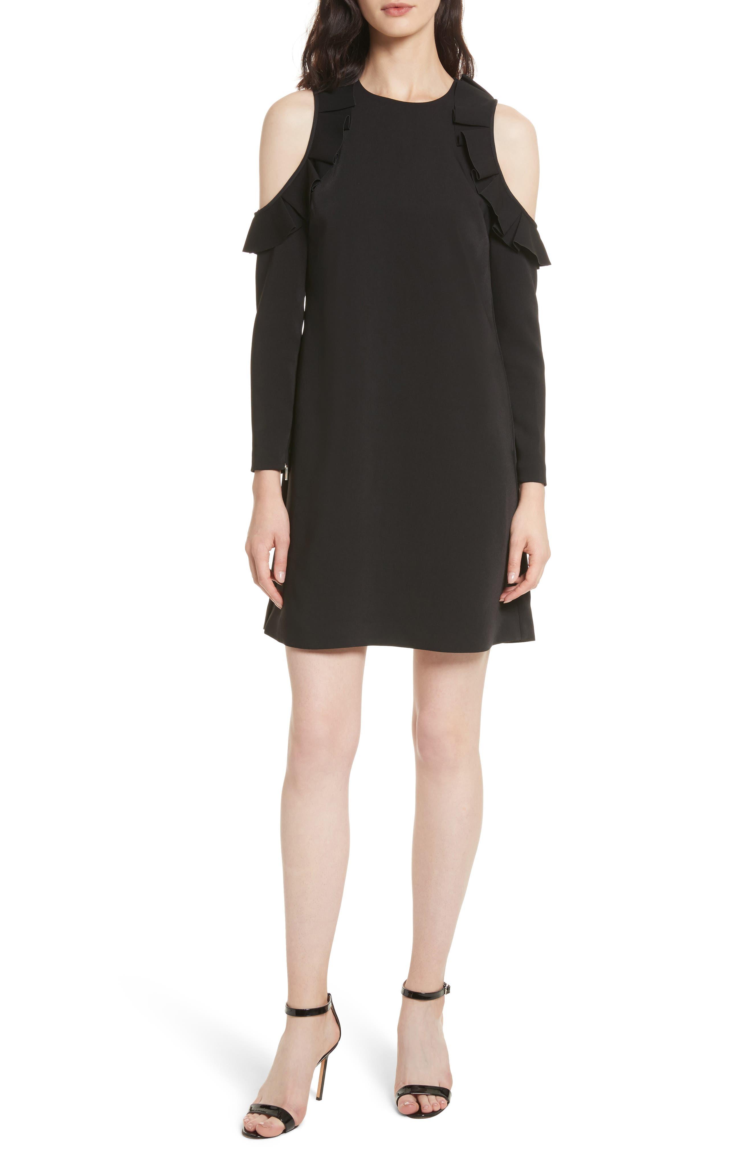 Siiara Frill Cold Shoulder Shift Dress,                         Main,                         color, 001