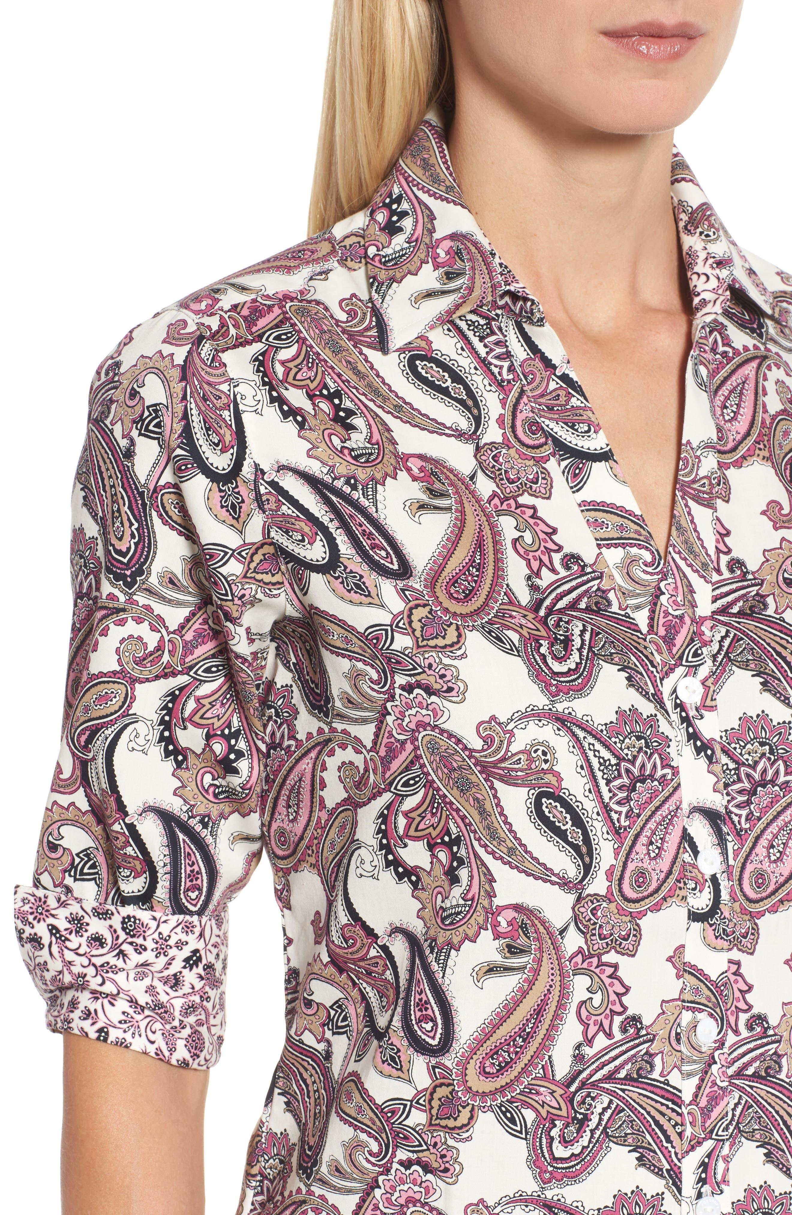 Mary Paisley Wrinkle Free Shirt,                             Alternate thumbnail 4, color,                             935