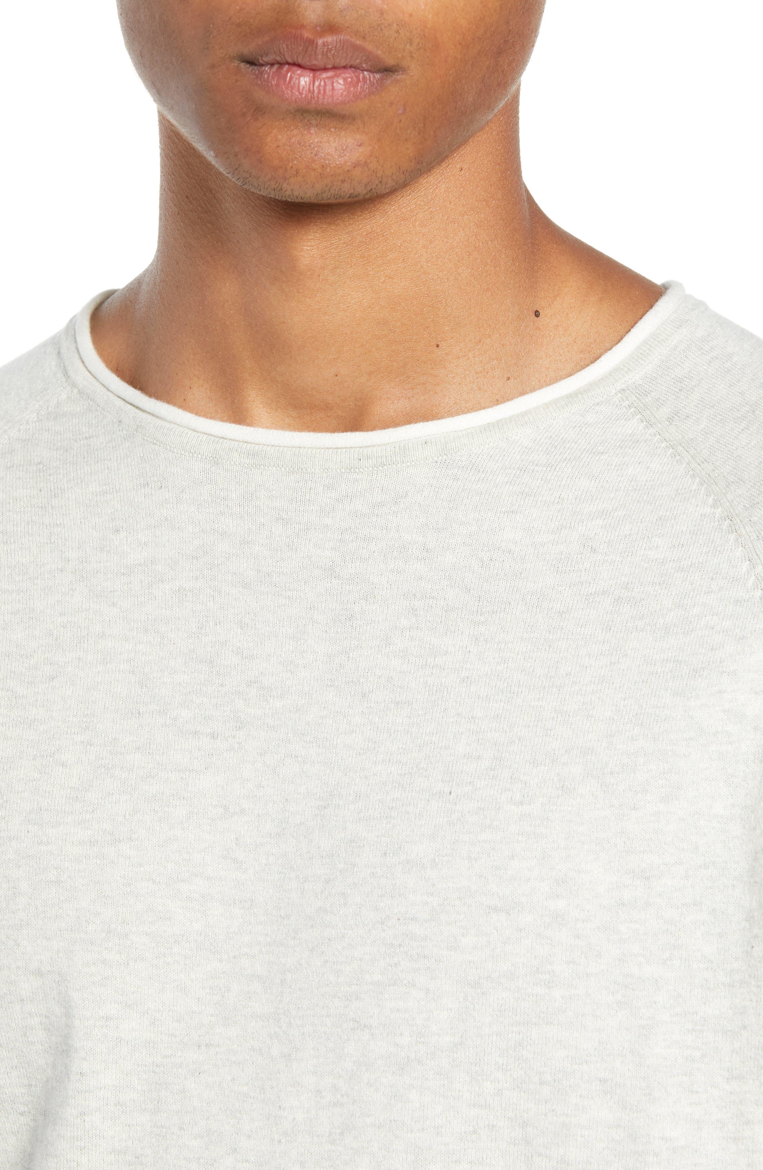 Crewneck Sweatshirt,                             Alternate thumbnail 4, color,                             BONE WHITE MELANGE