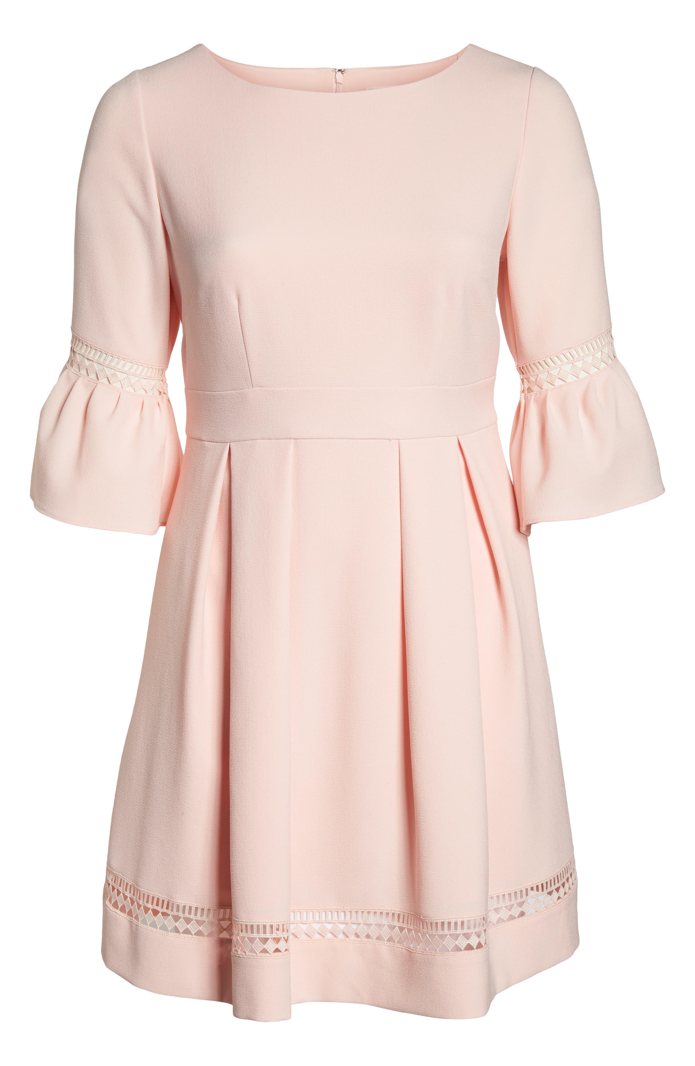 Bell Sleeve Fit & Flare Dress,                             Alternate thumbnail 7, color,                             BLUSH