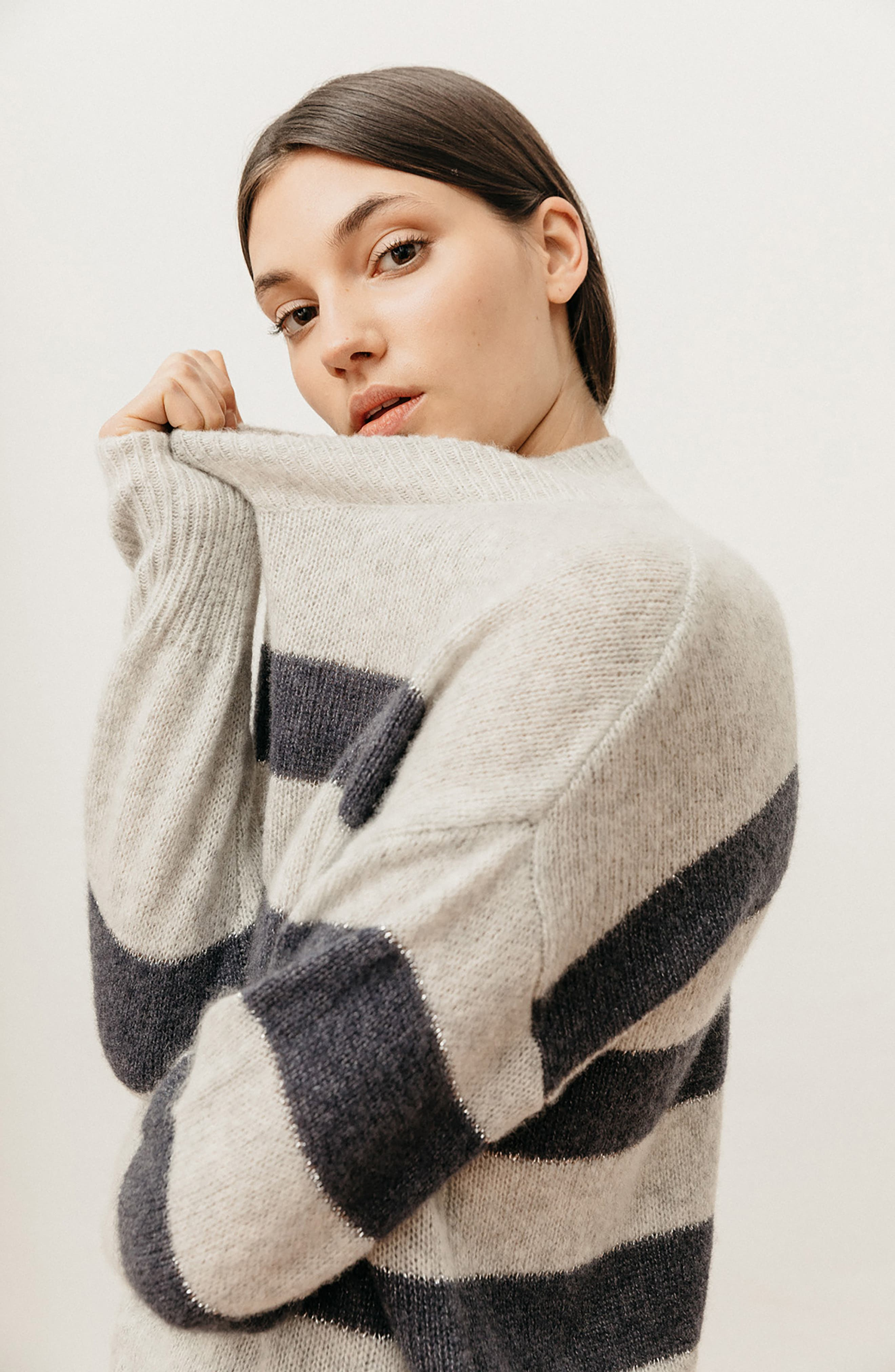 Ellise Stripe Silk & Cashmere Blend Sweater,                             Alternate thumbnail 8, color,                             MIST INDIGO