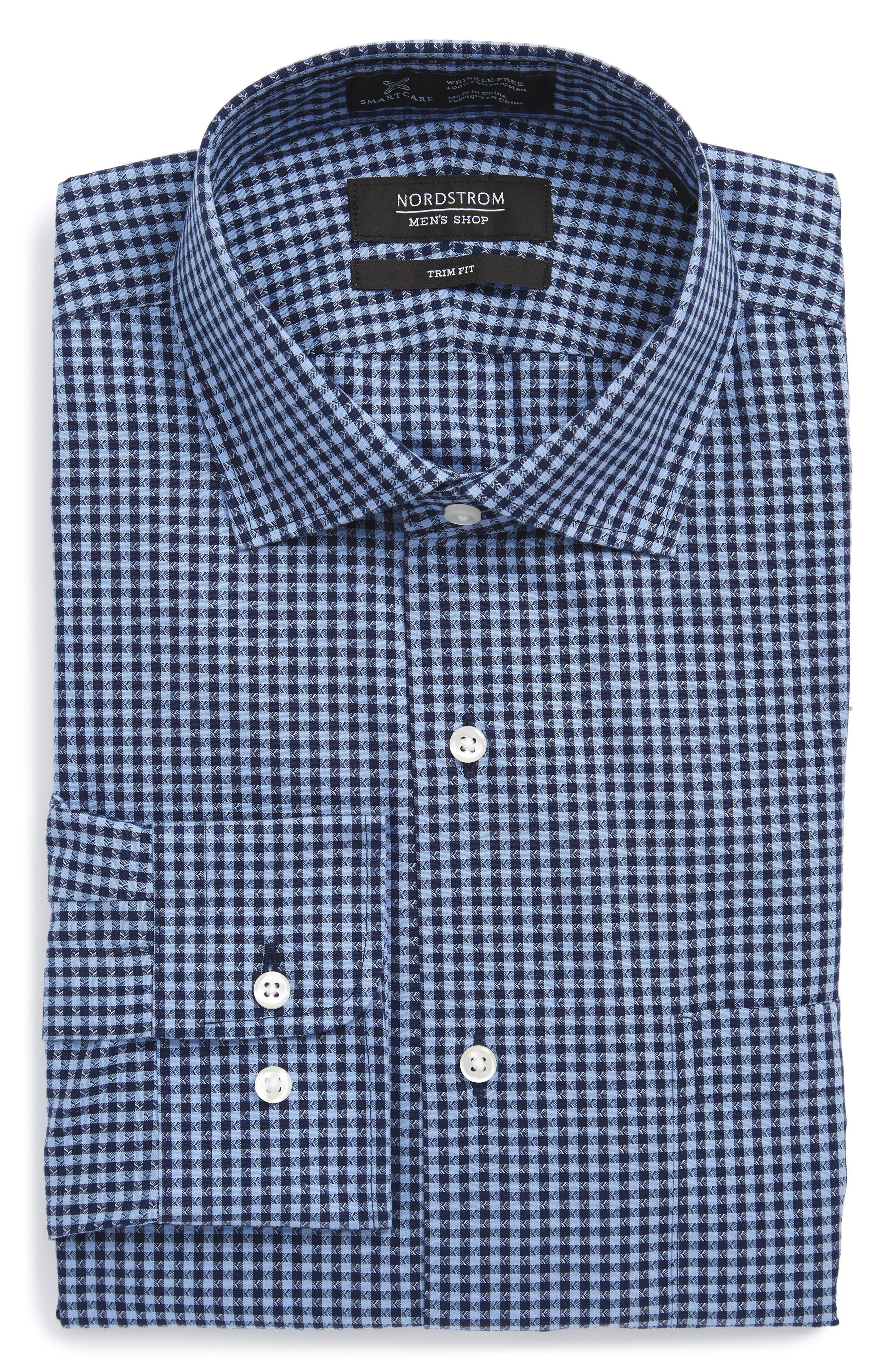 Smartcare<sup>™</sup> Trim Fit Check Dress Shirt,                             Alternate thumbnail 3, color,