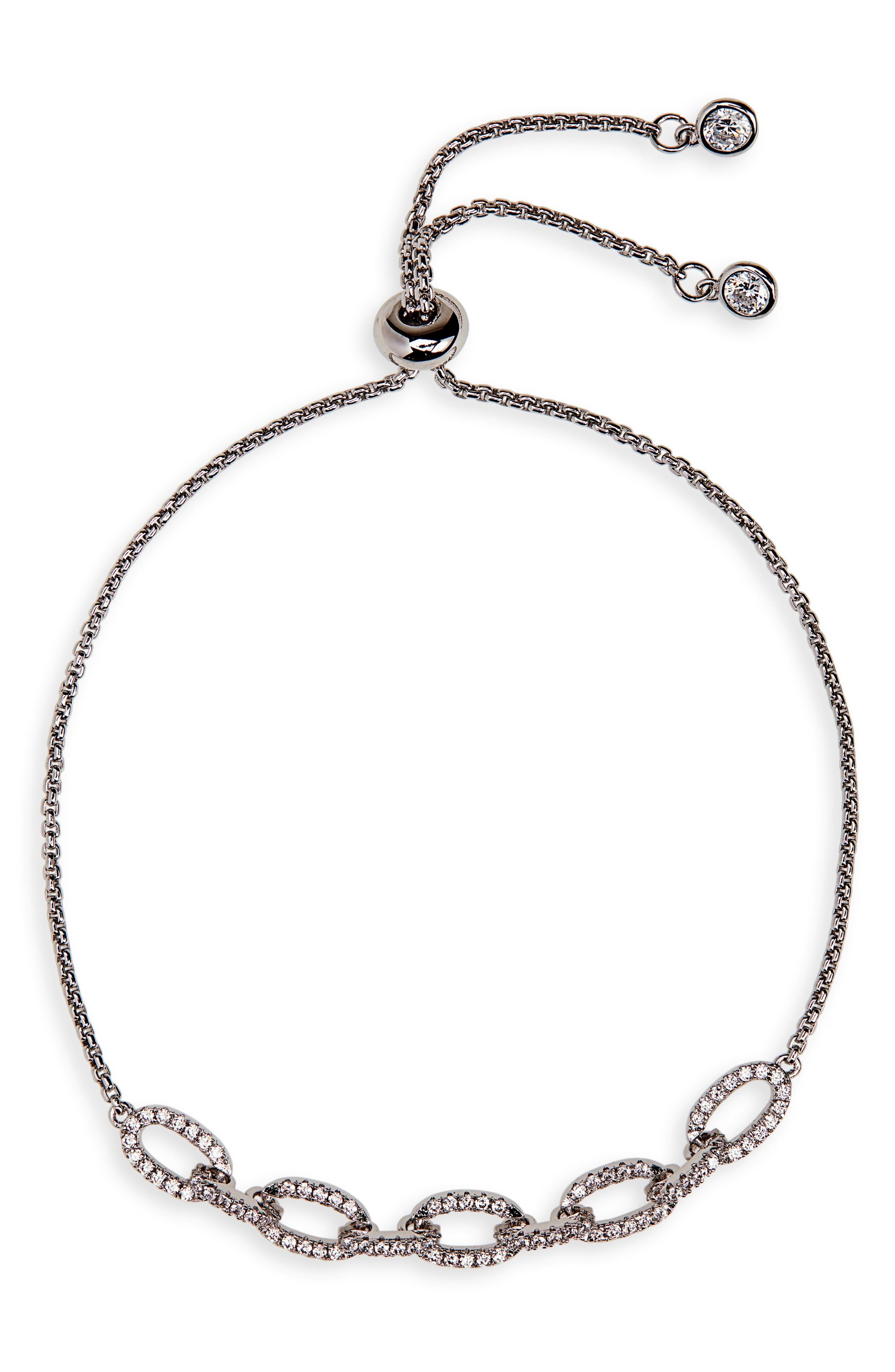 Pavé Link Slider Bracelet,                             Main thumbnail 1, color,                             CLEAR/ SILVER
