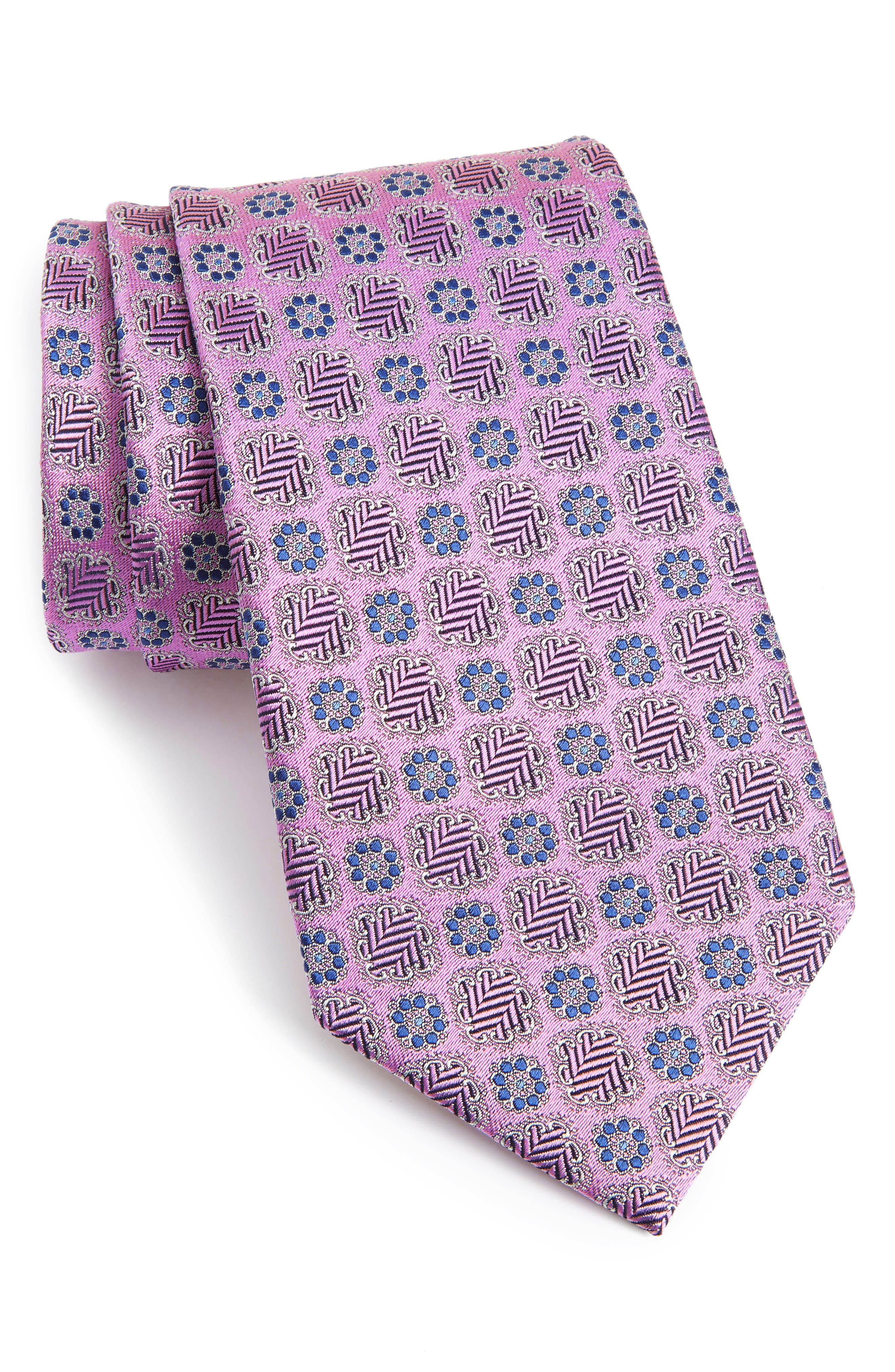Medallion Silk Tie,                             Main thumbnail 1, color,                             PINK