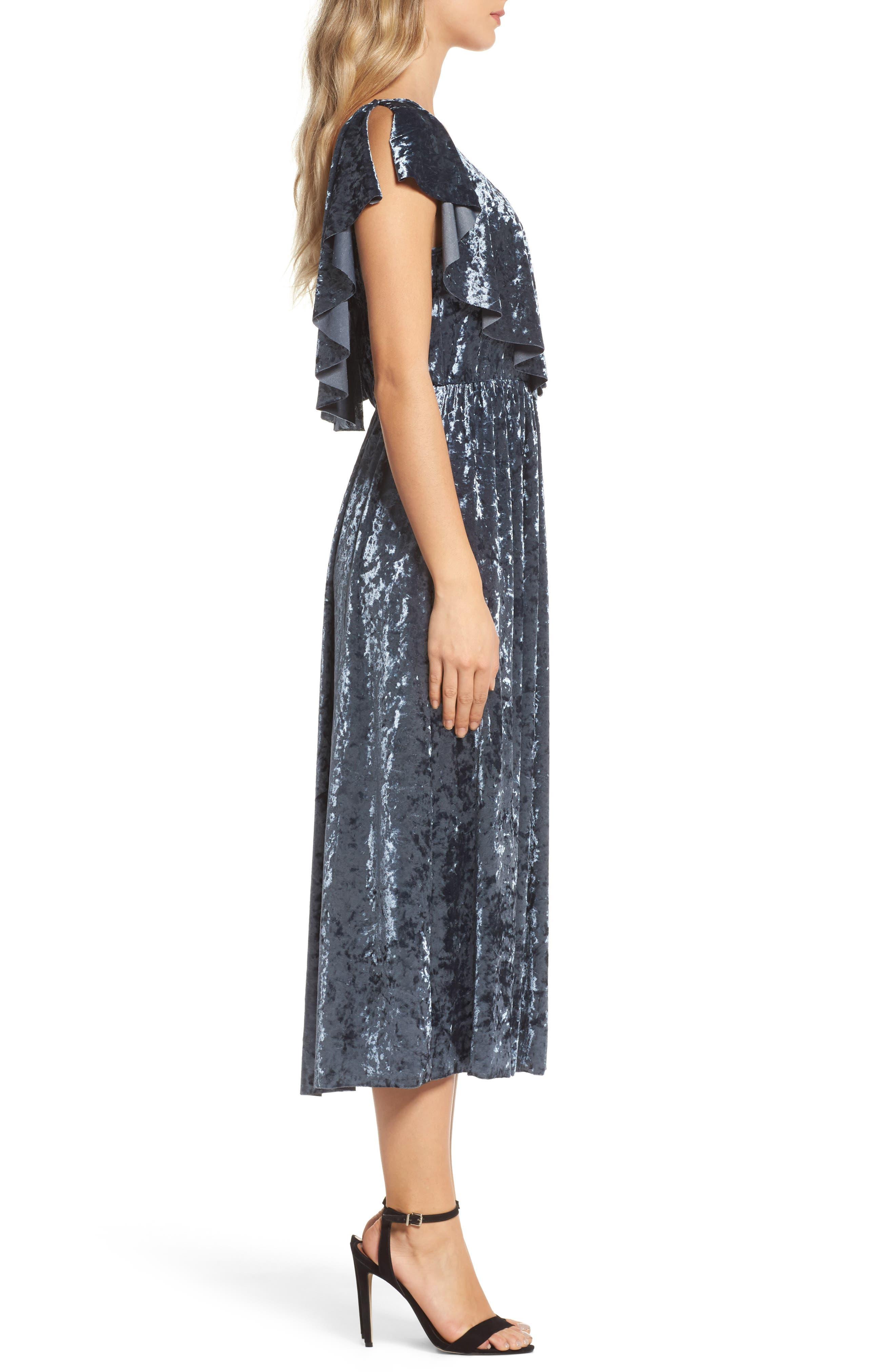 Crushed Velvet Midi Dress,                             Alternate thumbnail 3, color,                             405