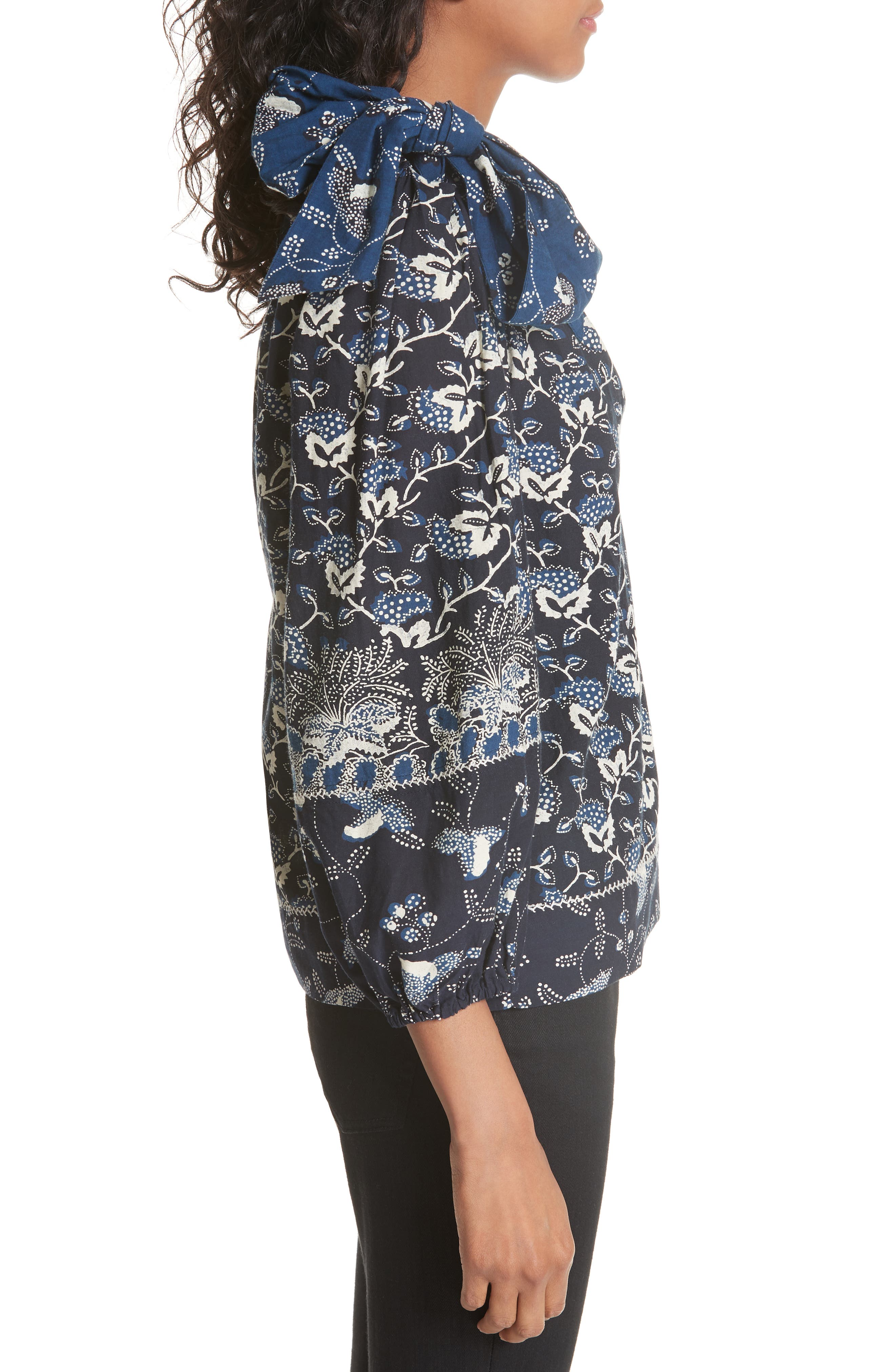 Asima Batik One Shoulder Blouse,                             Alternate thumbnail 3, color,                             400