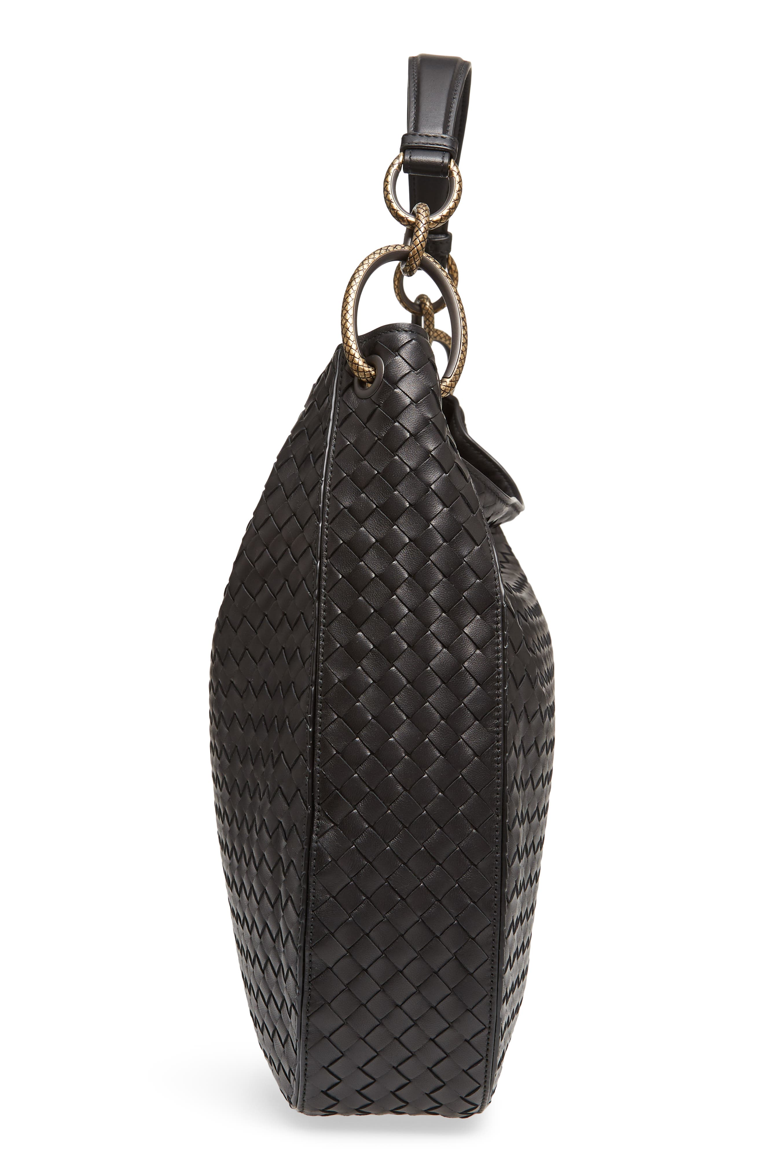 Large Loop Woven Leather Hobo,                             Alternate thumbnail 5, color,                             NERO