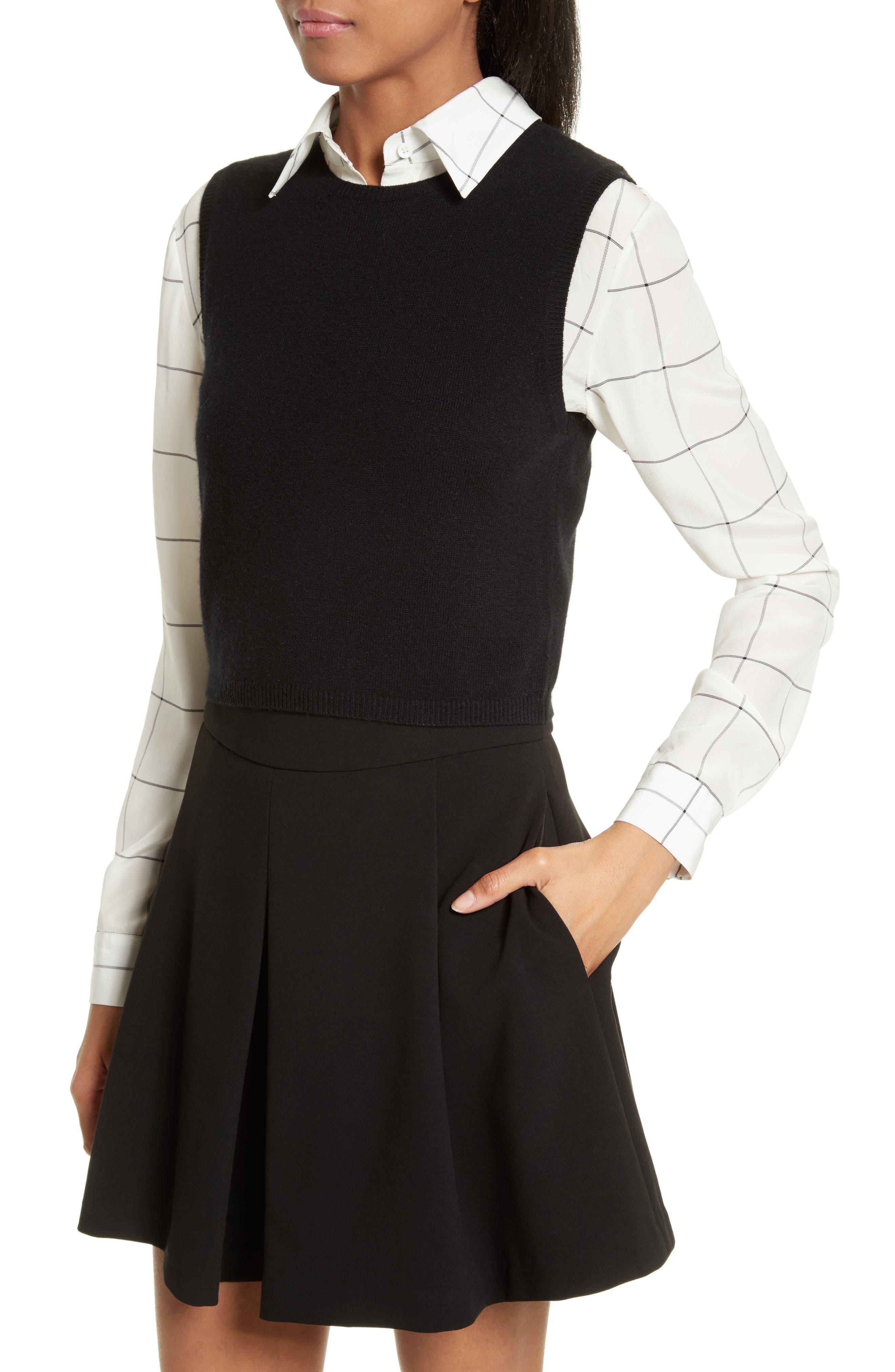 Lucinda Crop Sweater Vest & Shirt,                             Alternate thumbnail 4, color,                             007