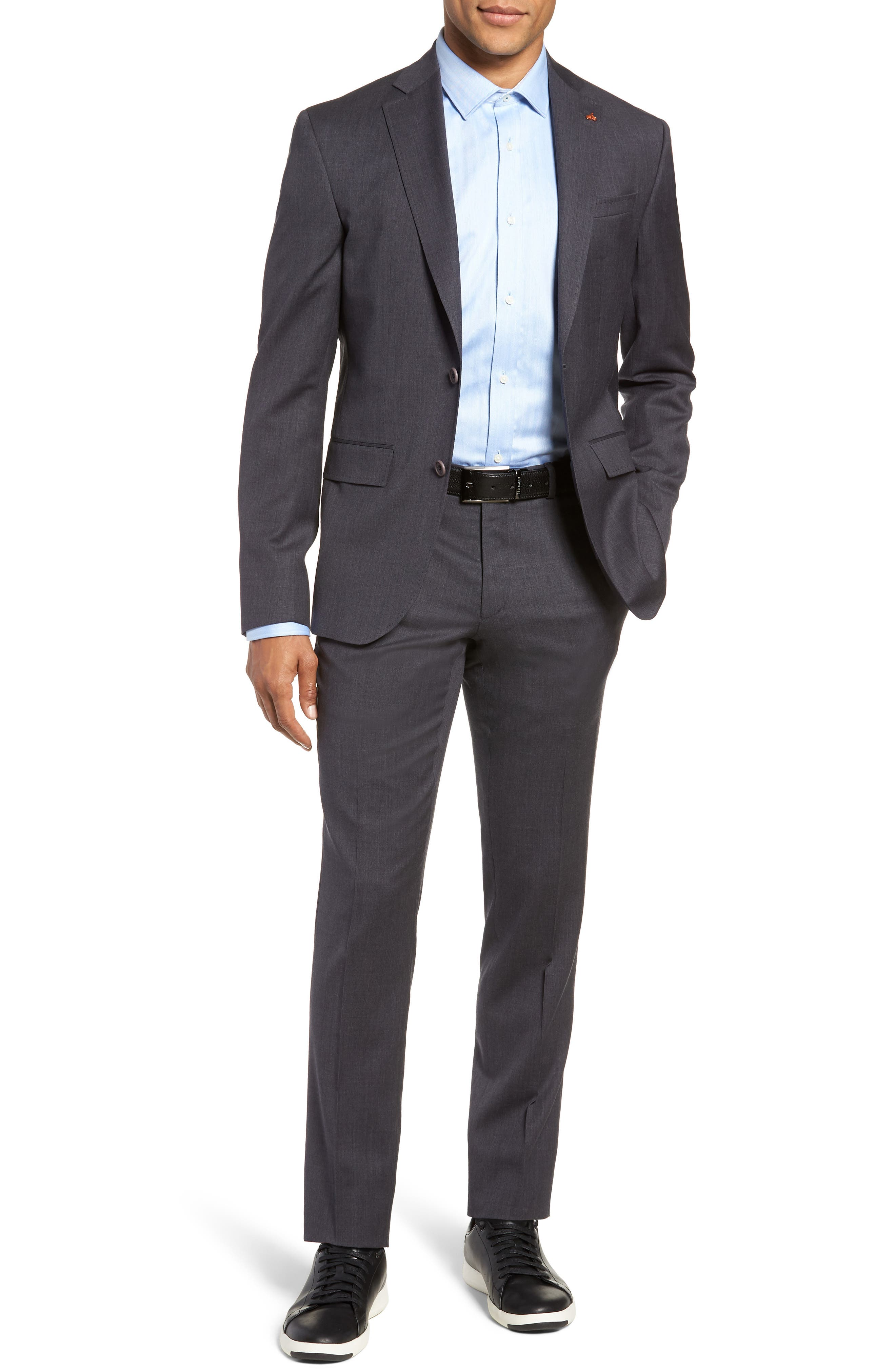 Rove Extra Slim Fit Solid Wool Suit,                         Main,                         color, GREY