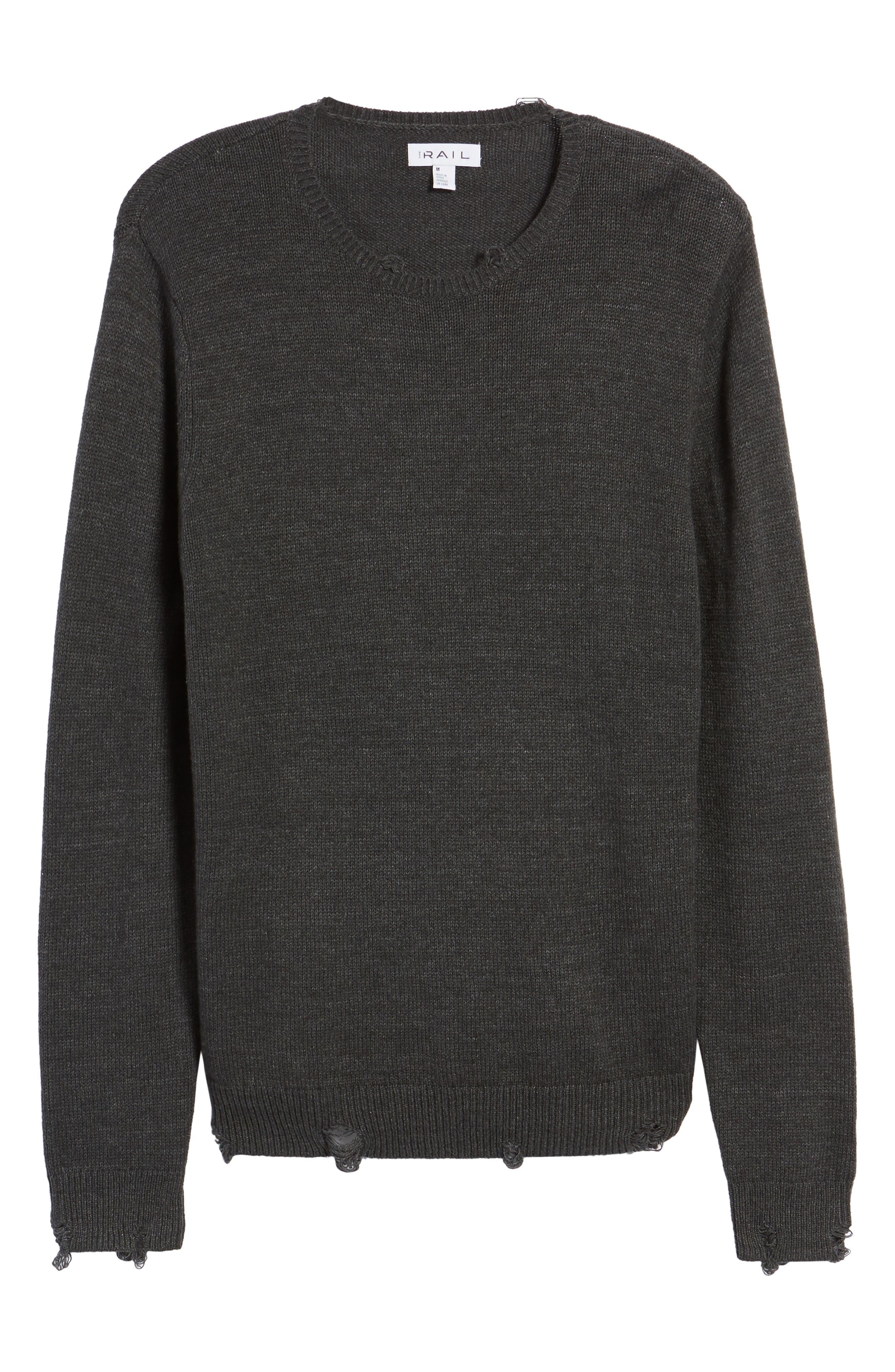 Destroyed Crewneck Sweater,                             Alternate thumbnail 6, color,                             030