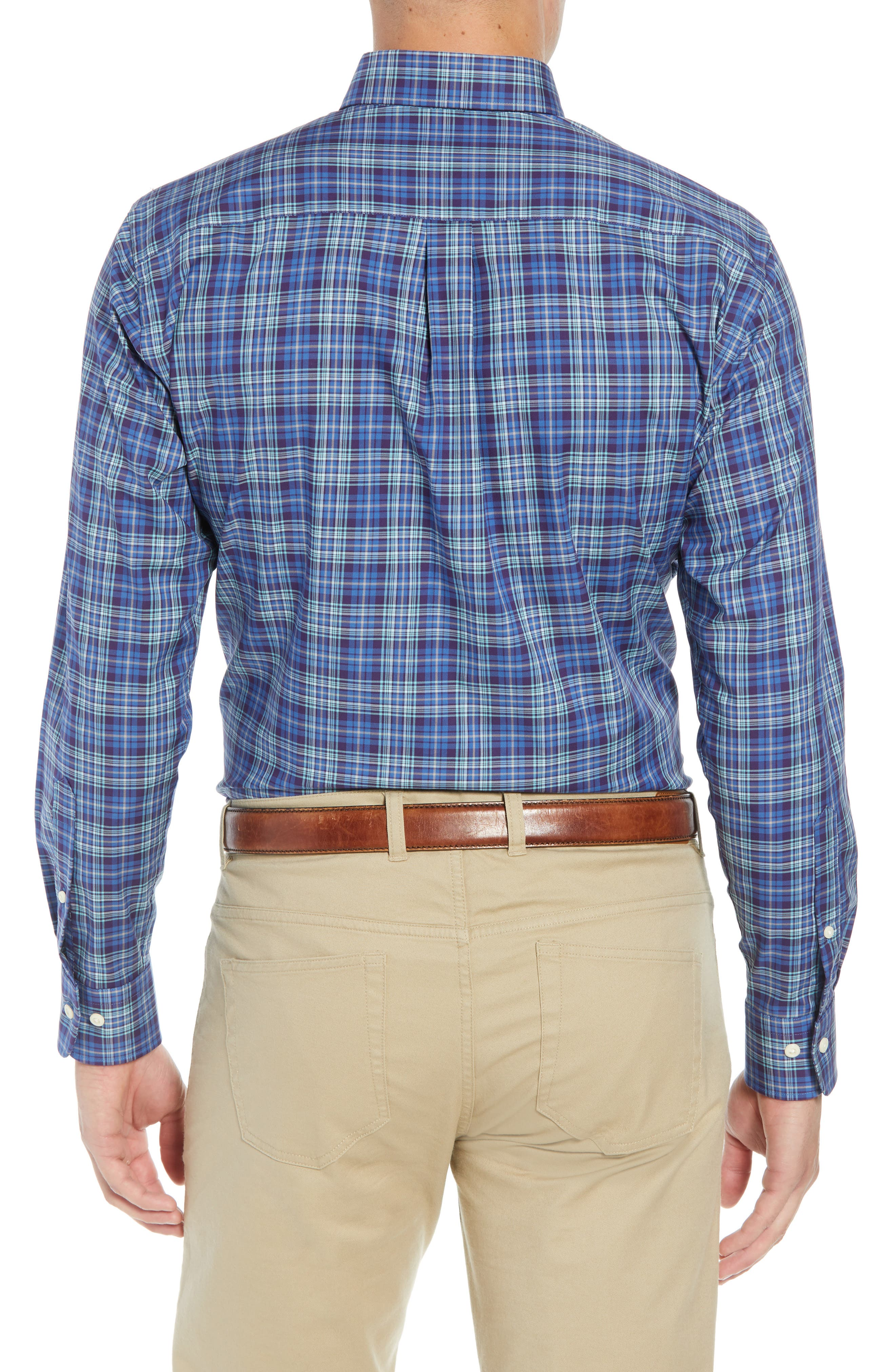 Crown Ease Flatey Island Regular Fit Tartan Plaid Sport Shirt,                             Alternate thumbnail 3, color,                             BLUE