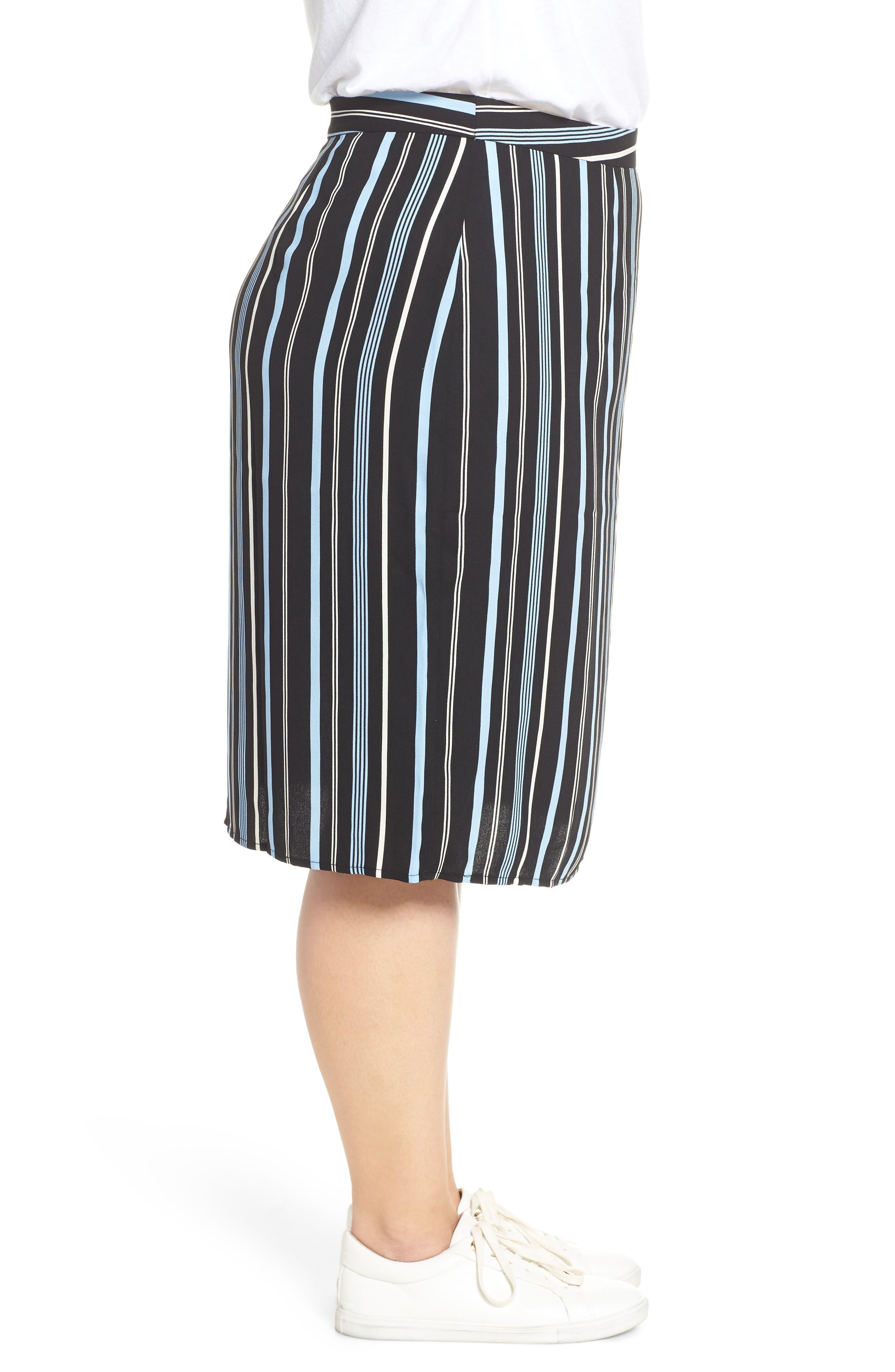 Button Wrap Skirt,                             Alternate thumbnail 9, color,                             BLACK MULTI COLORED STRIPE