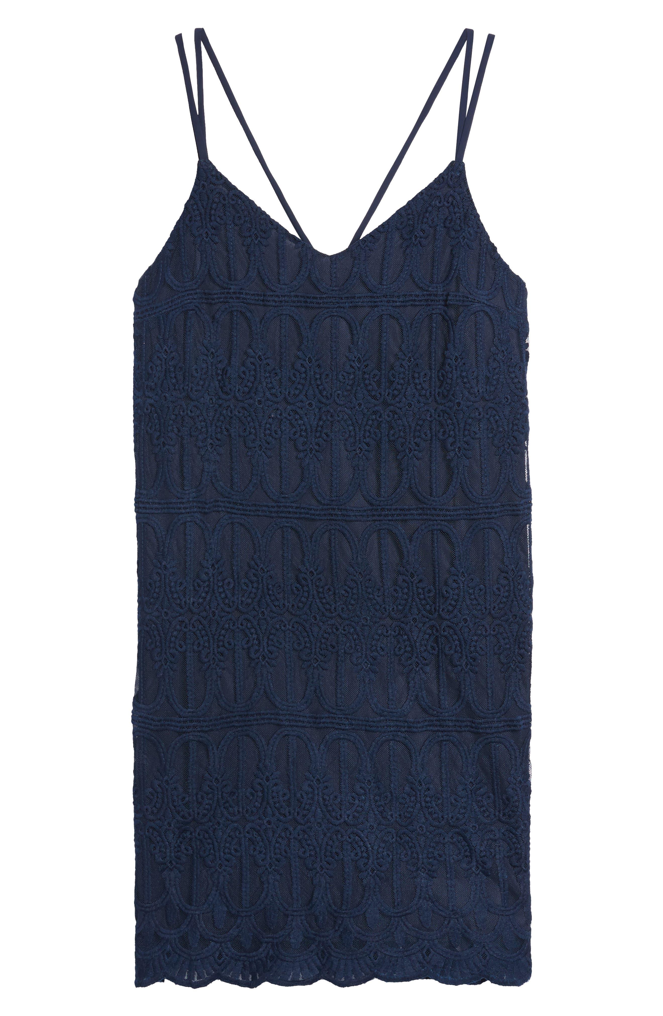Cross Back Lace Dress,                             Alternate thumbnail 6, color,                             410