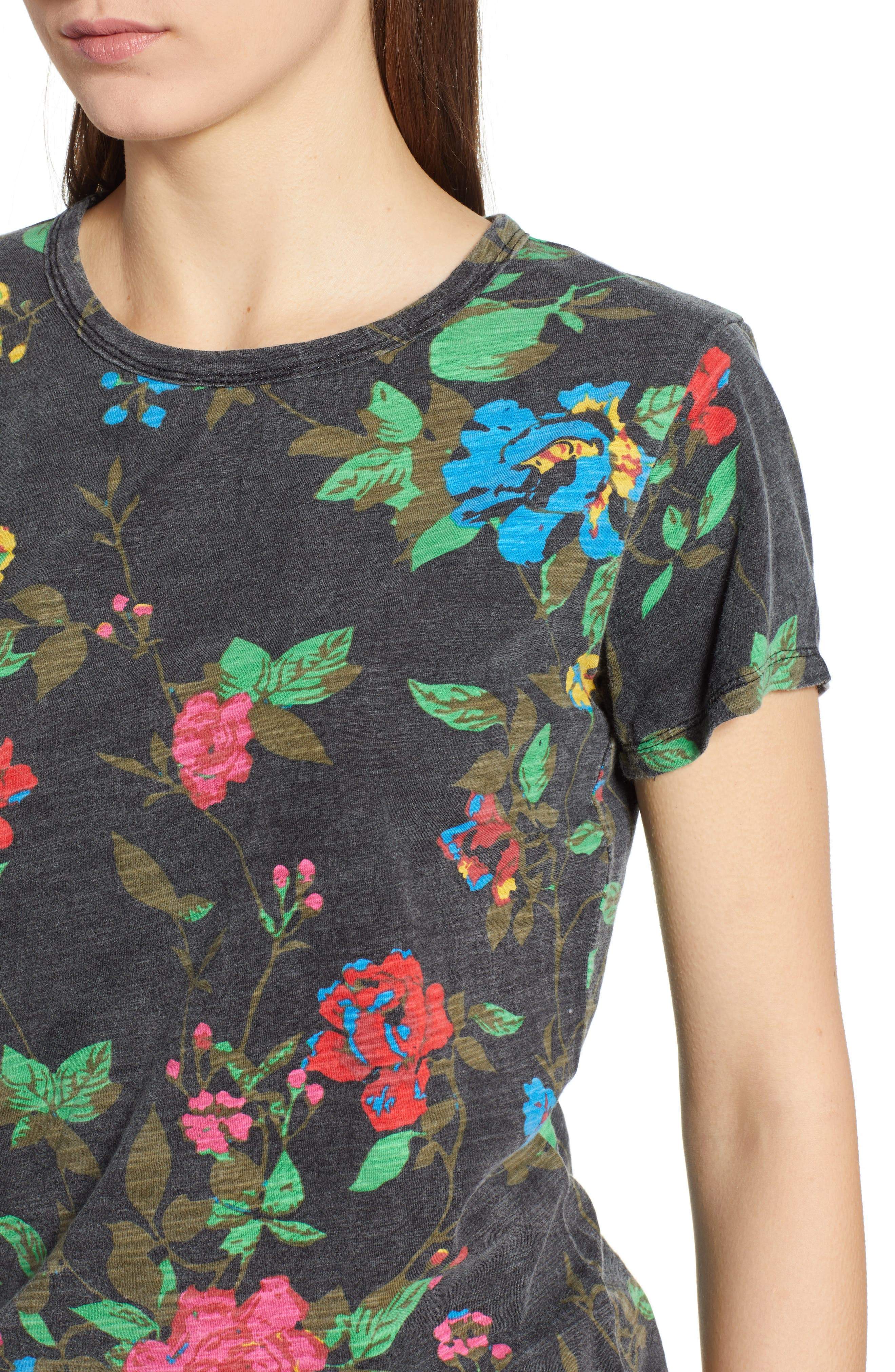 Floral Tee,                             Alternate thumbnail 4, color,                             BLACK