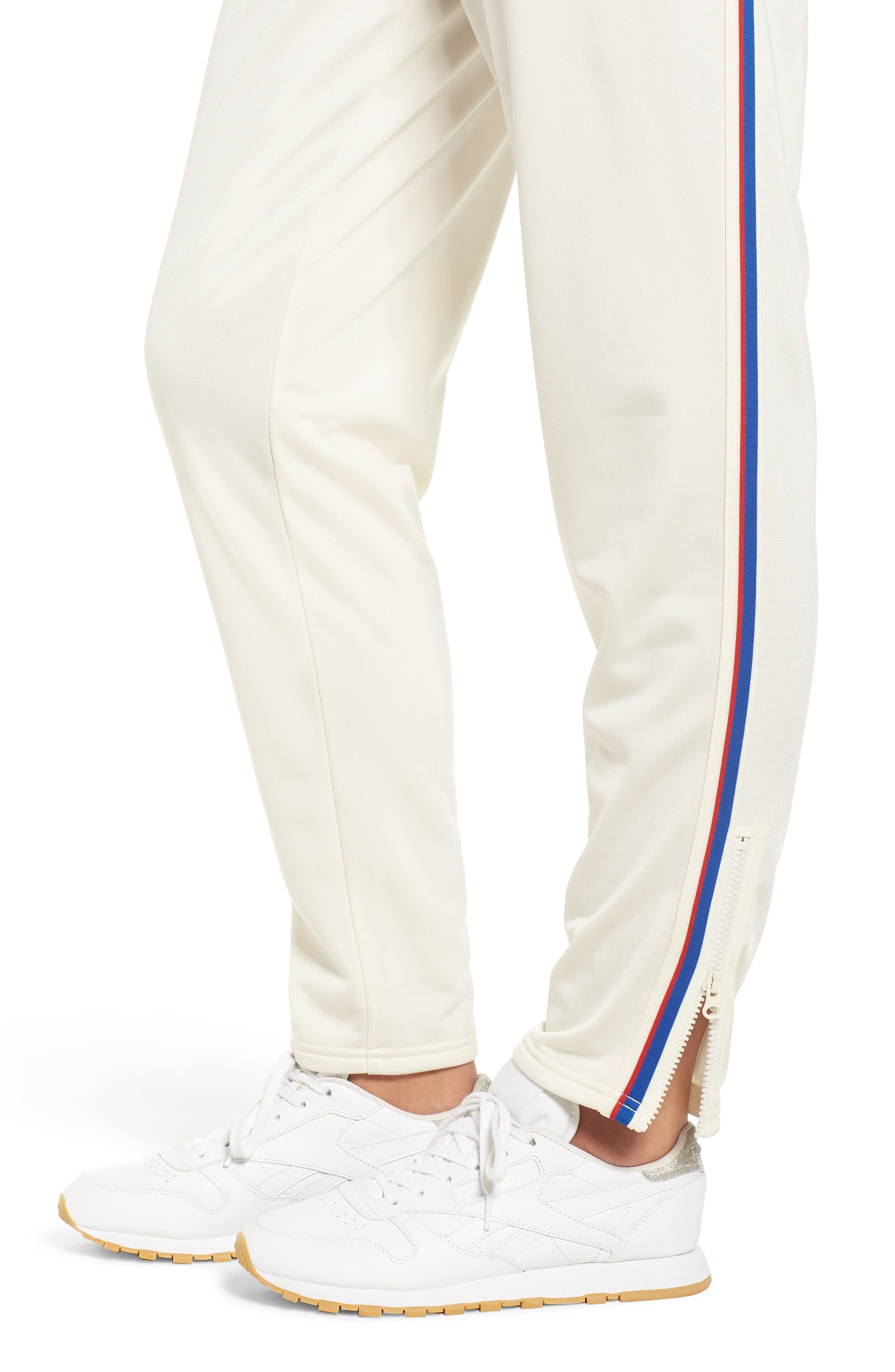 Side Stripe Track Pants,                             Alternate thumbnail 4, color,                             CHALK WHITE