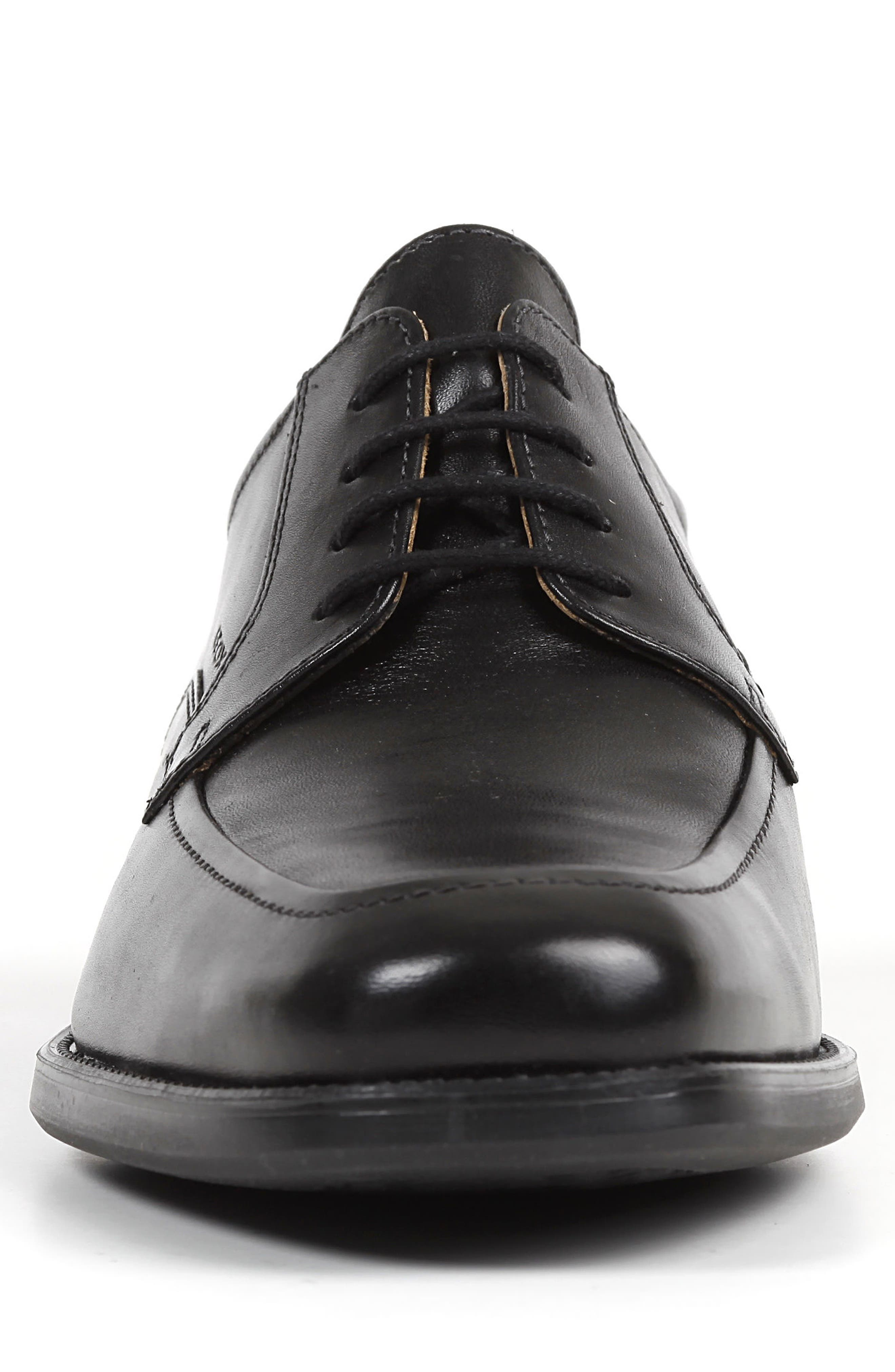 Federico 14 Plain Toe Derby,                             Alternate thumbnail 4, color,                             BLACK LEATHER