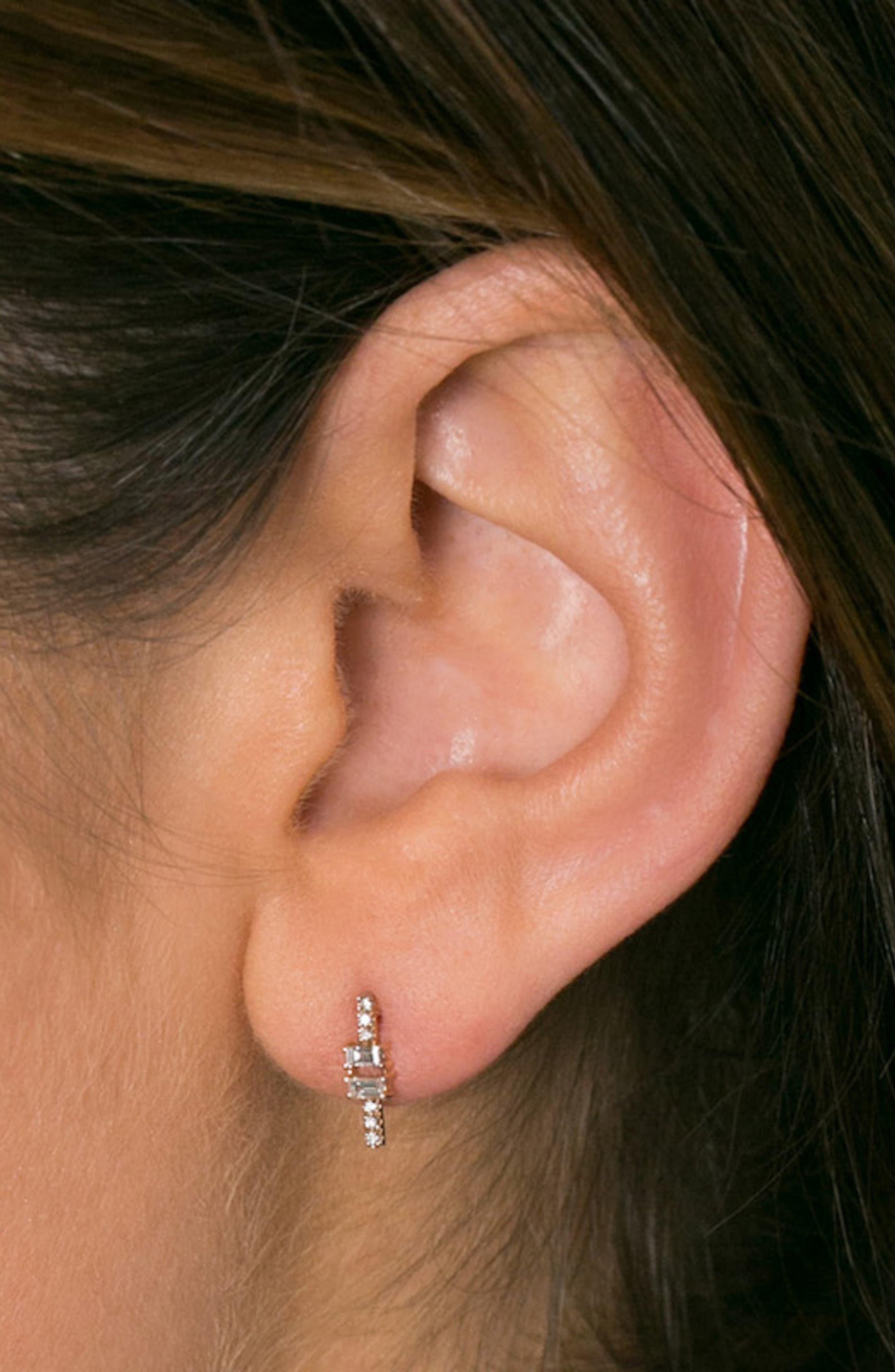 Dana Rebecca Sadie Baguette Bar Stud Earrings,                             Alternate thumbnail 3, color,                             YELLOW GOLD