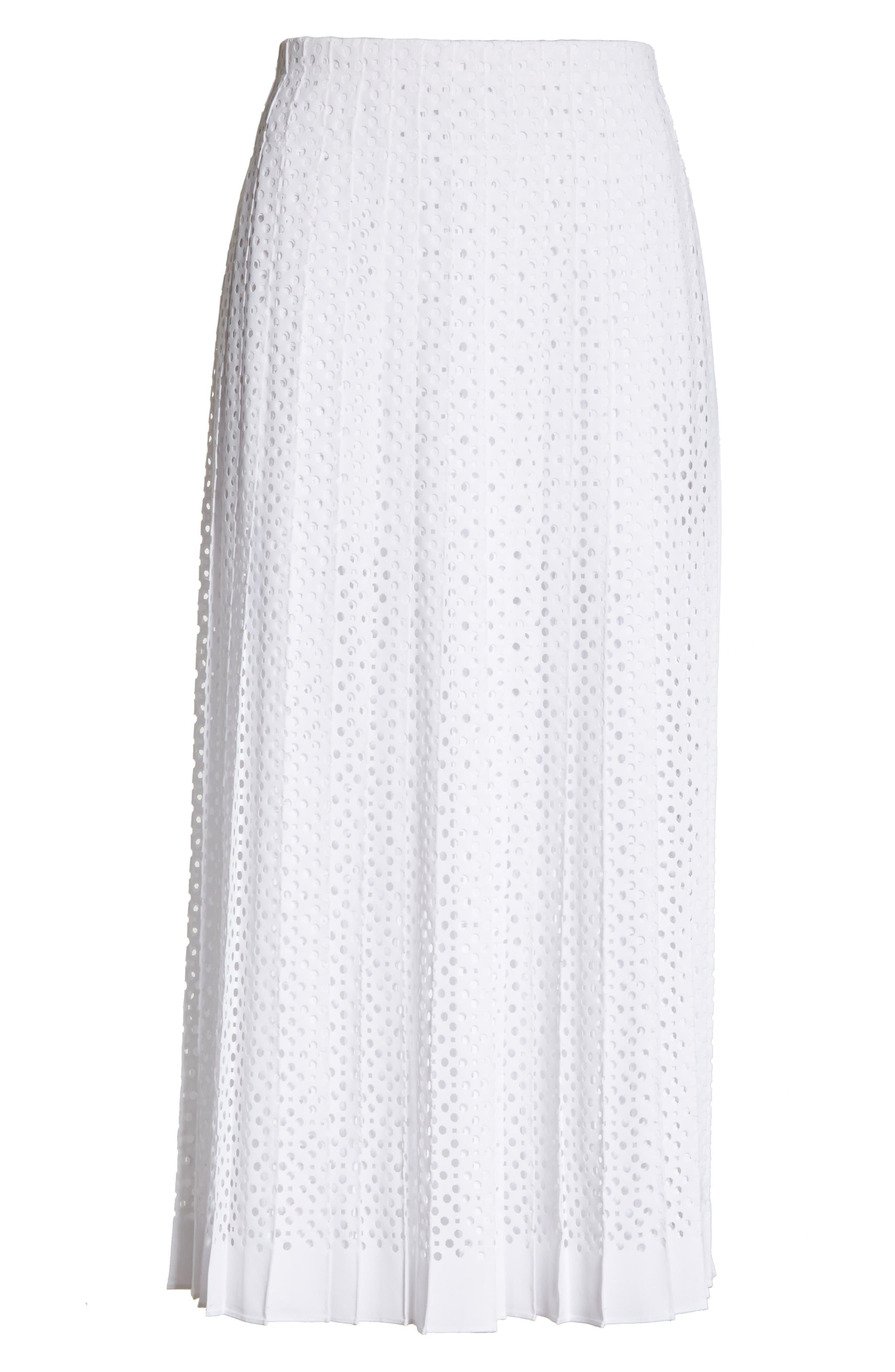 TORY BURCH,                             Carine Eyelet Midi Skirt,                             Alternate thumbnail 6, color,                             100