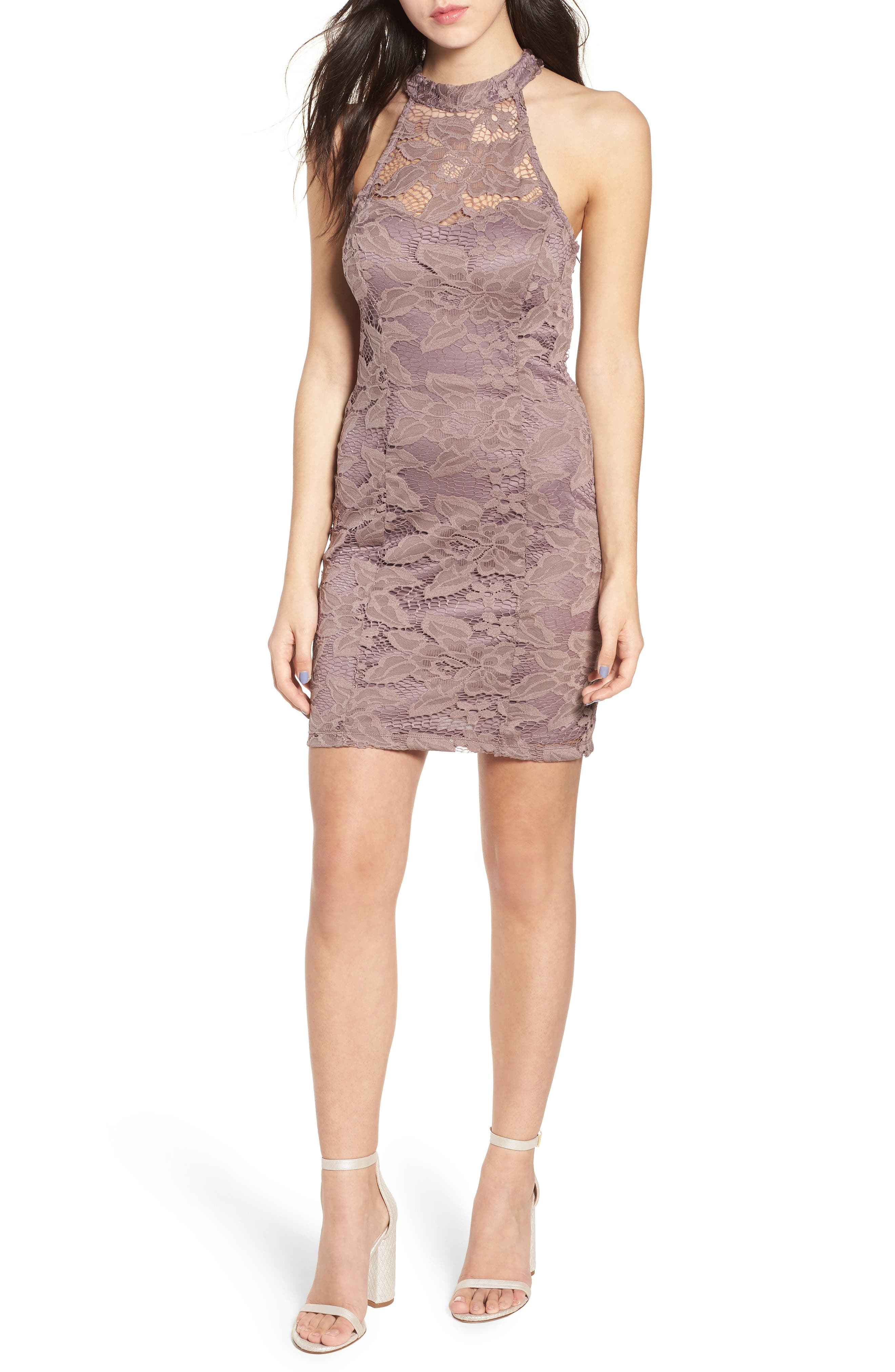 Lace Body-Con Minidress,                             Main thumbnail 1, color,                             650