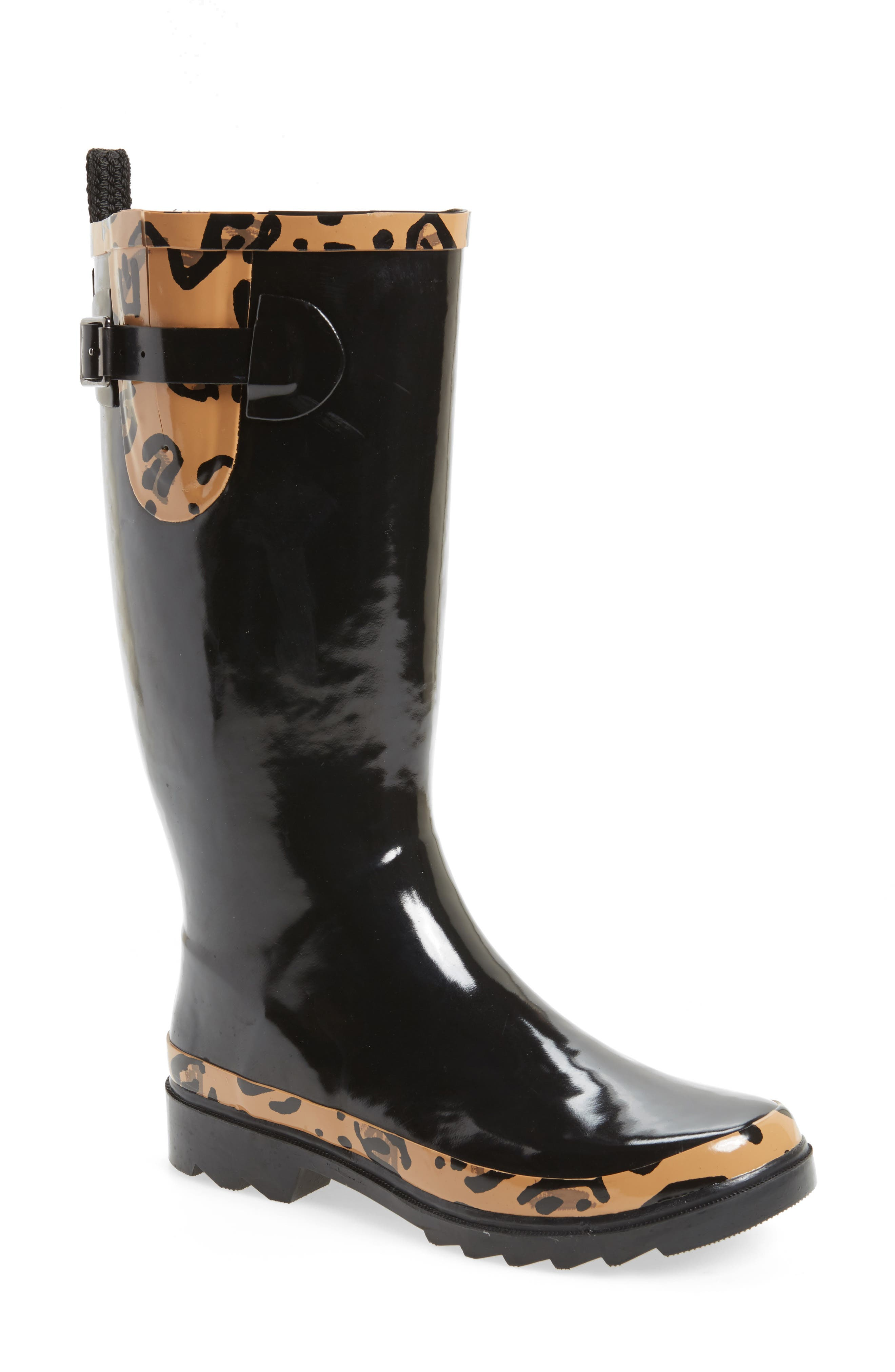 Rhythm Waterproof Rain Boot,                             Main thumbnail 1, color,                             BLACK LEOPARD PRINT