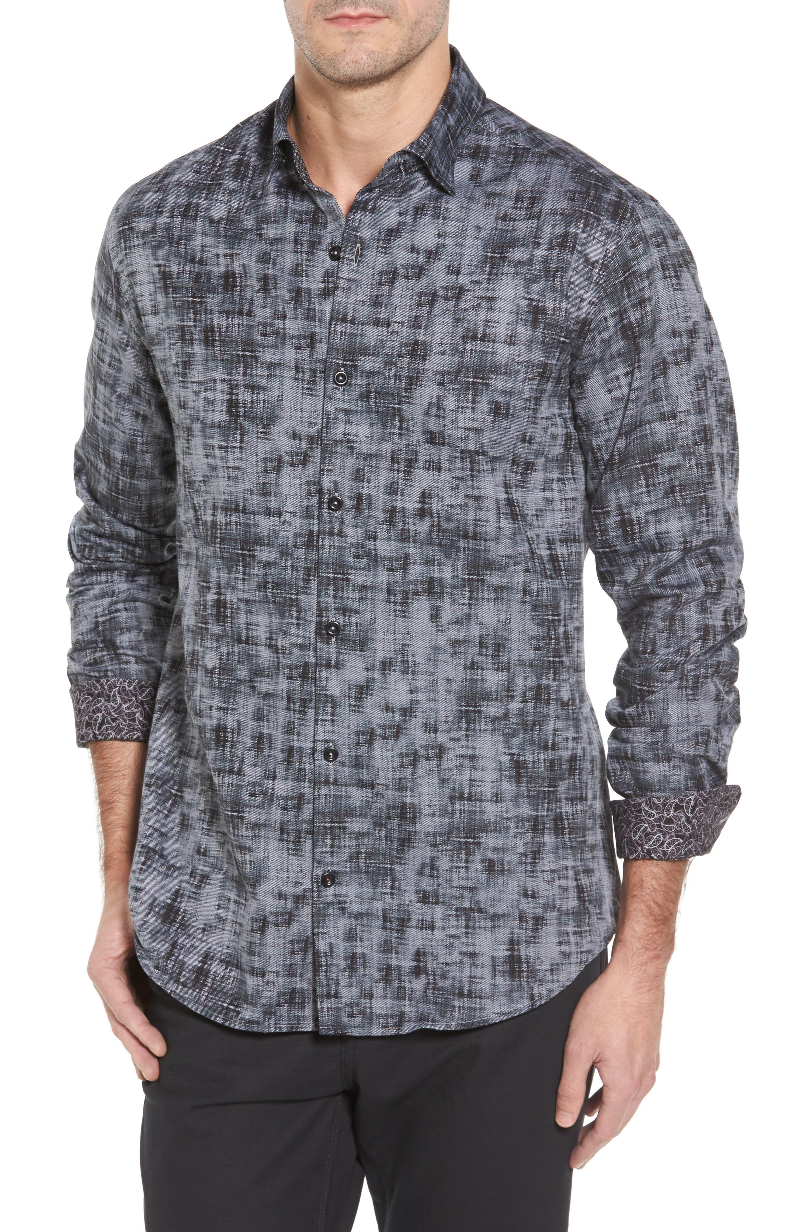 Slim Fit Twill FX Print Sport Shirt,                             Main thumbnail 1, color,                             001