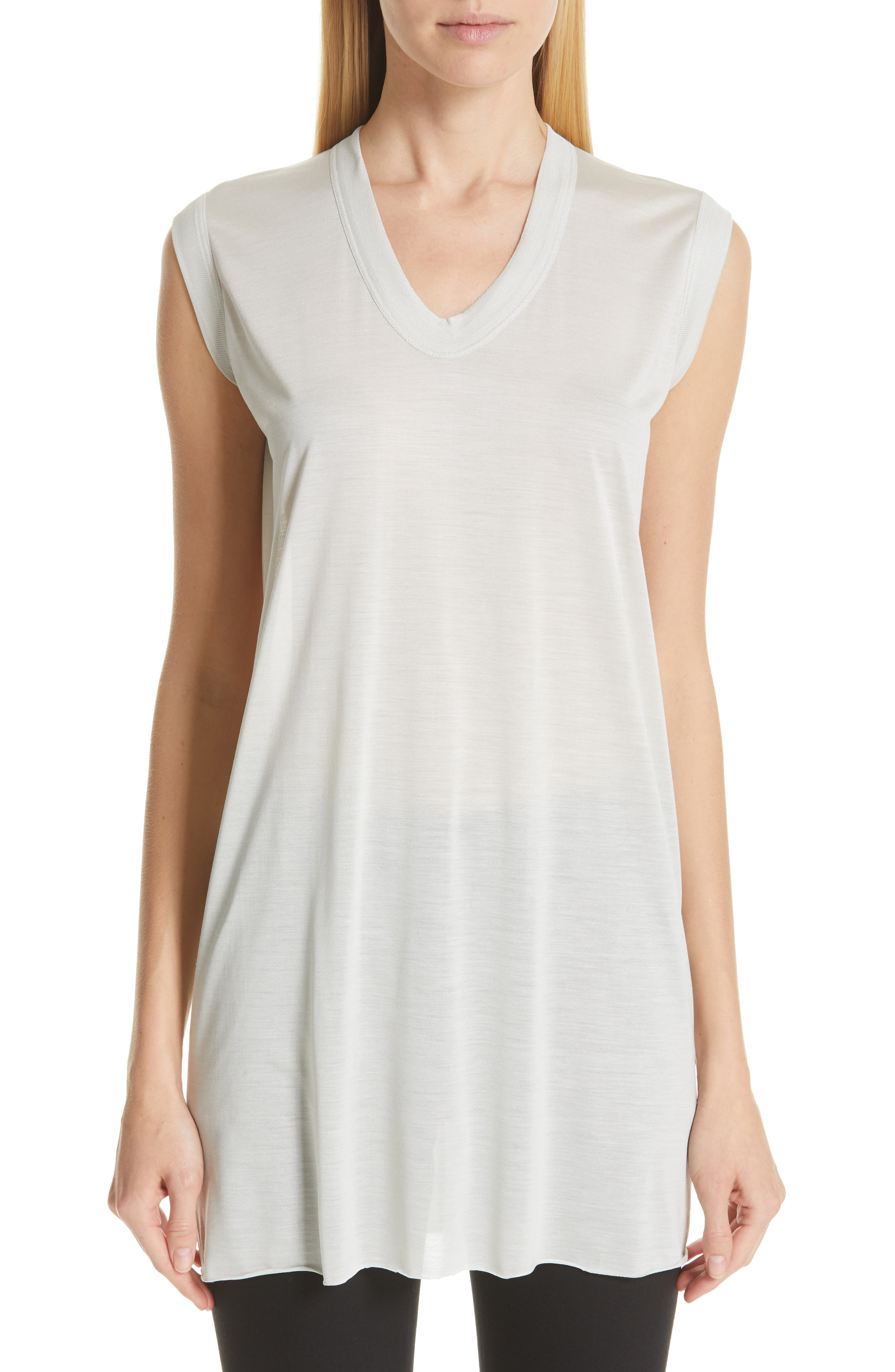 RICK OWENS Silk Jersey Tee, Main, color, OYSTER