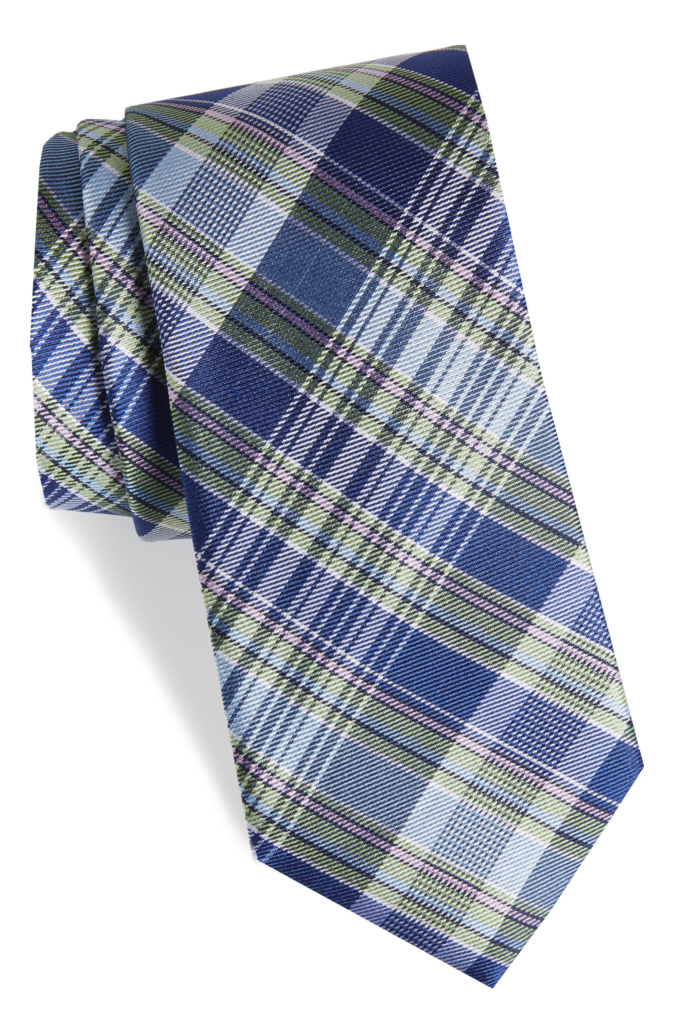 Sassafrass Plaid Silk Tie,                             Main thumbnail 1, color,