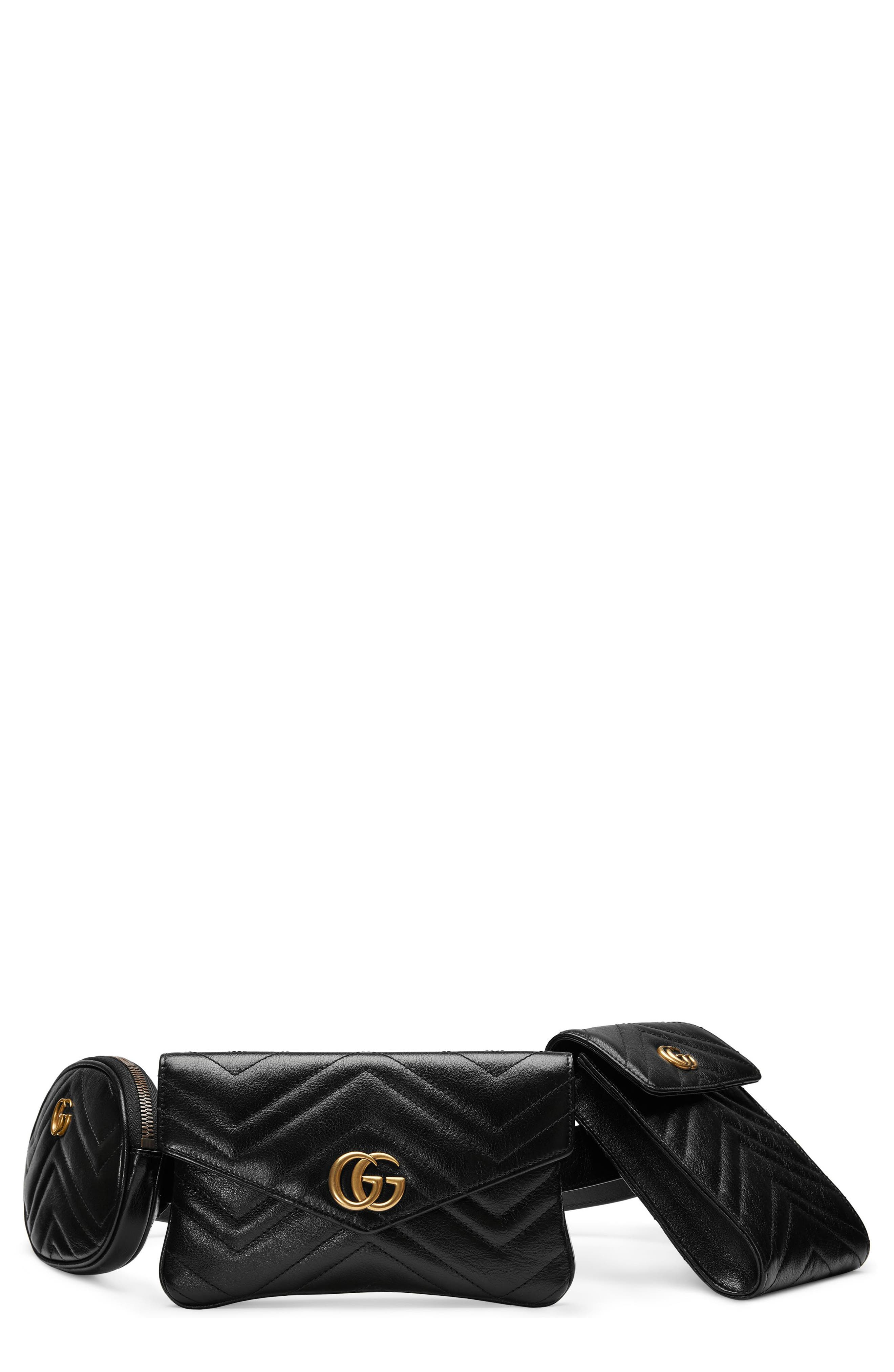 GG Marmont 2.0 Matelassé Triple Pouch Leather Belt Bag,                         Main,                         color, 001
