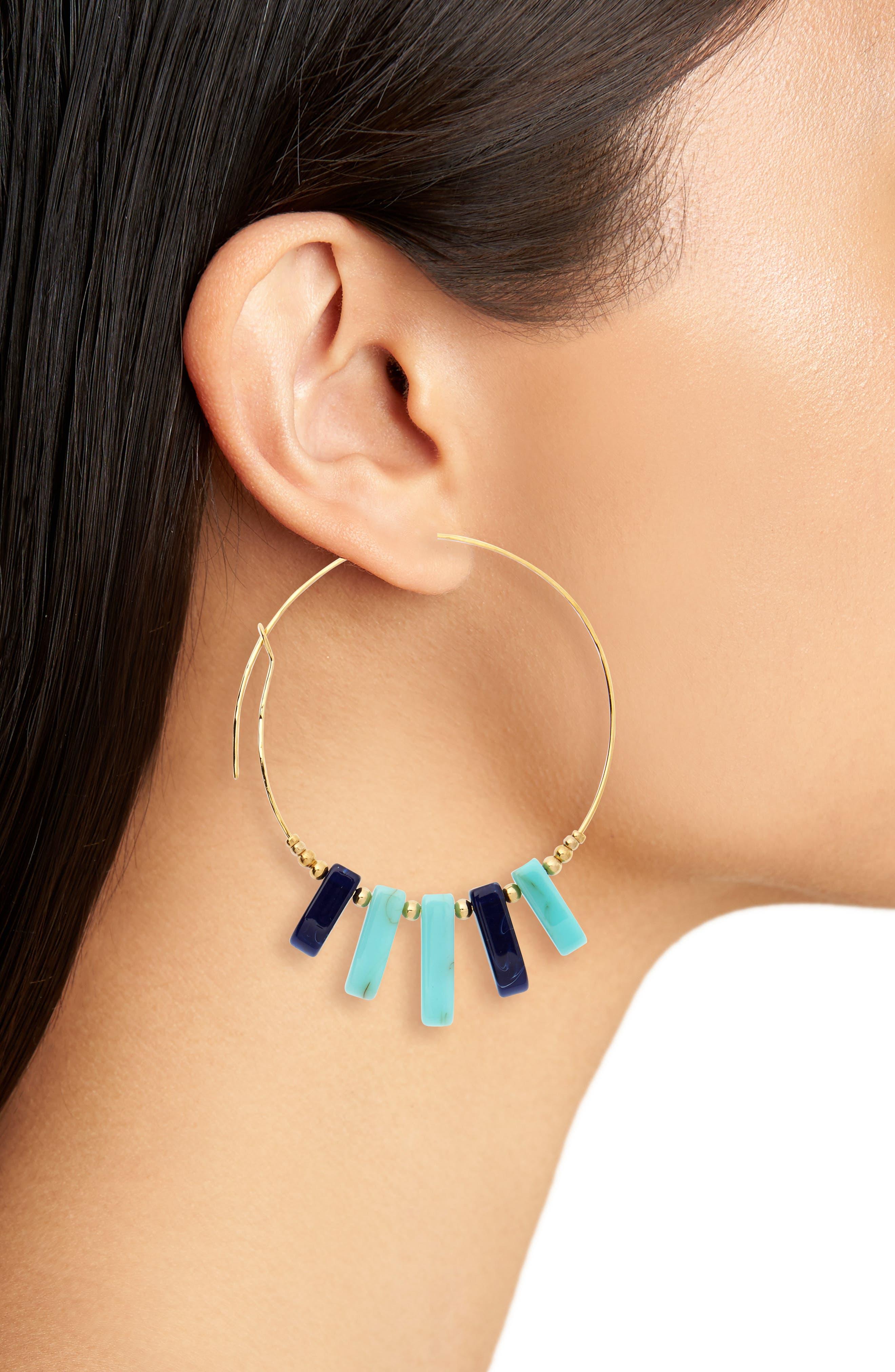Hoop Earrings,                             Alternate thumbnail 2, color,                             TURQUOISE/ BLUE