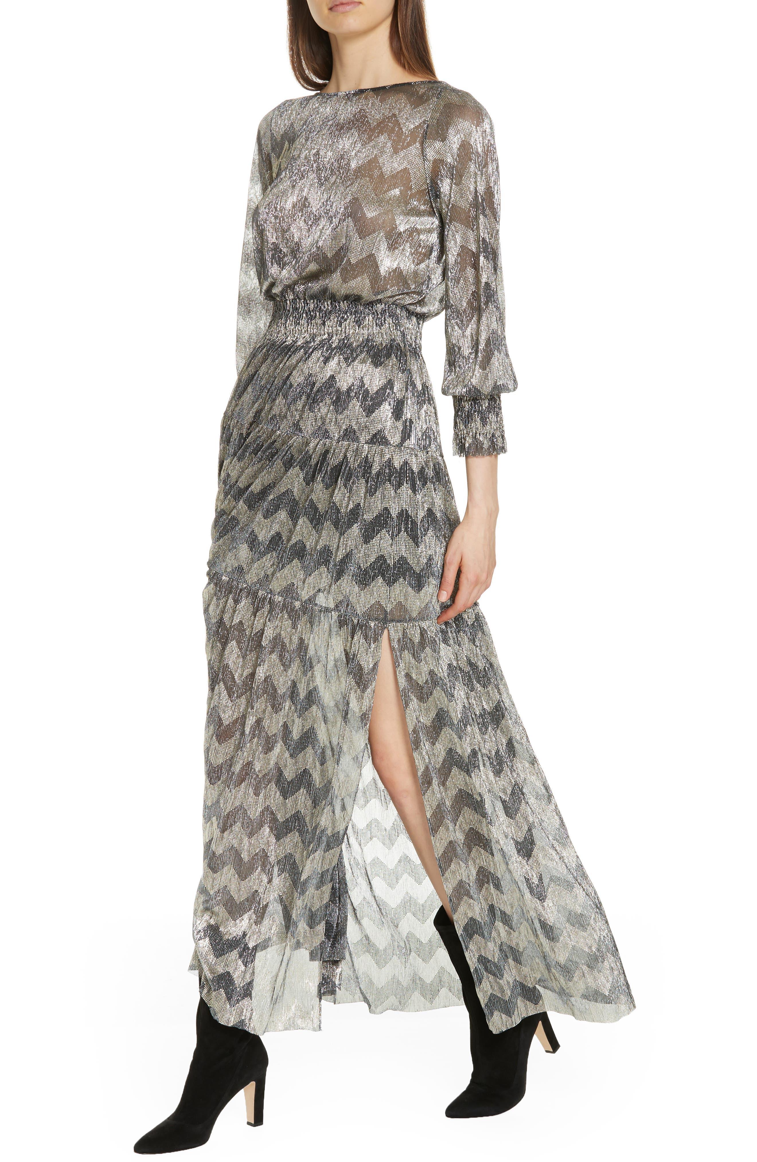 Grey Metallic Zigzag Maxi Dress,                             Alternate thumbnail 4, color,                             ANTHRACITE