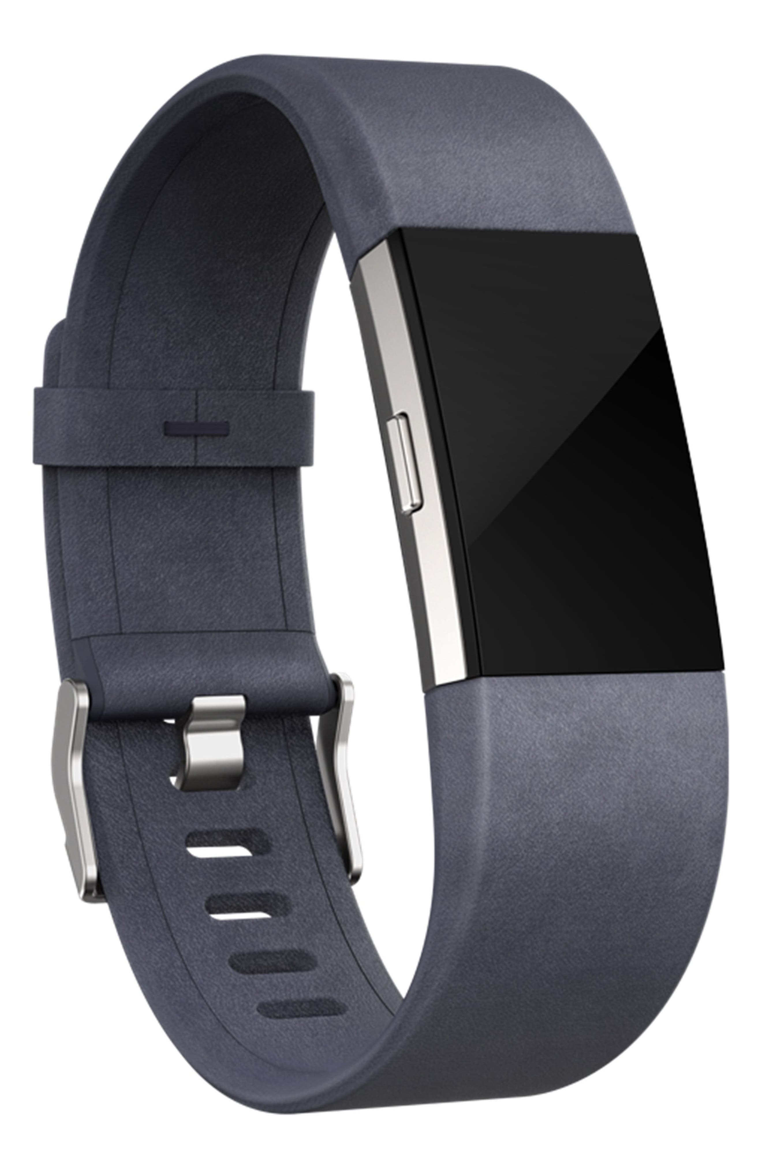 Charge 2 Leather Accessory Band,                             Alternate thumbnail 2, color,                             NAVY