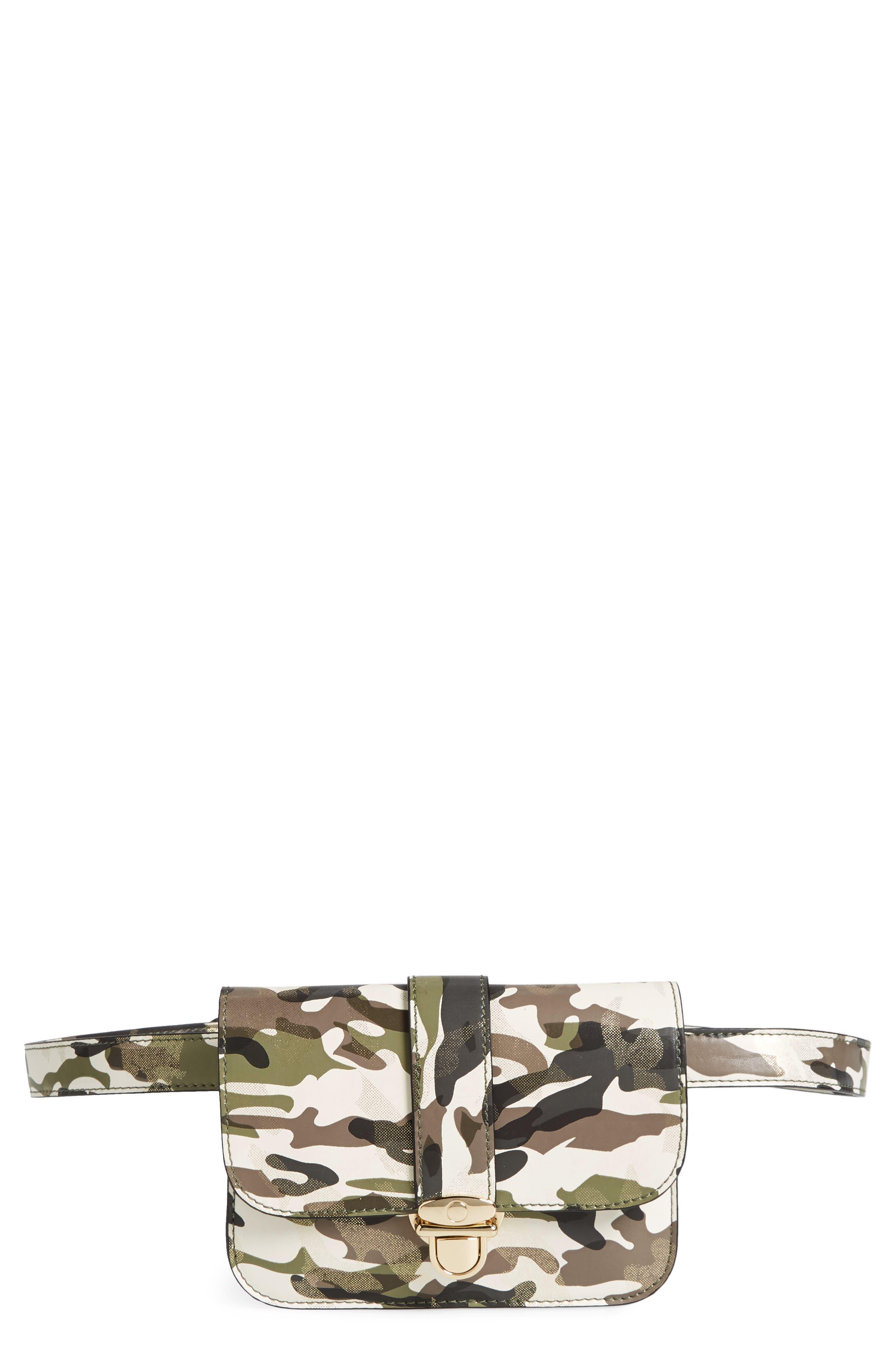 Mali + Lili Stella Camouflage Vegan Leather Crossbody Belt Bag,                         Main,                         color, CAMOUFLAGE