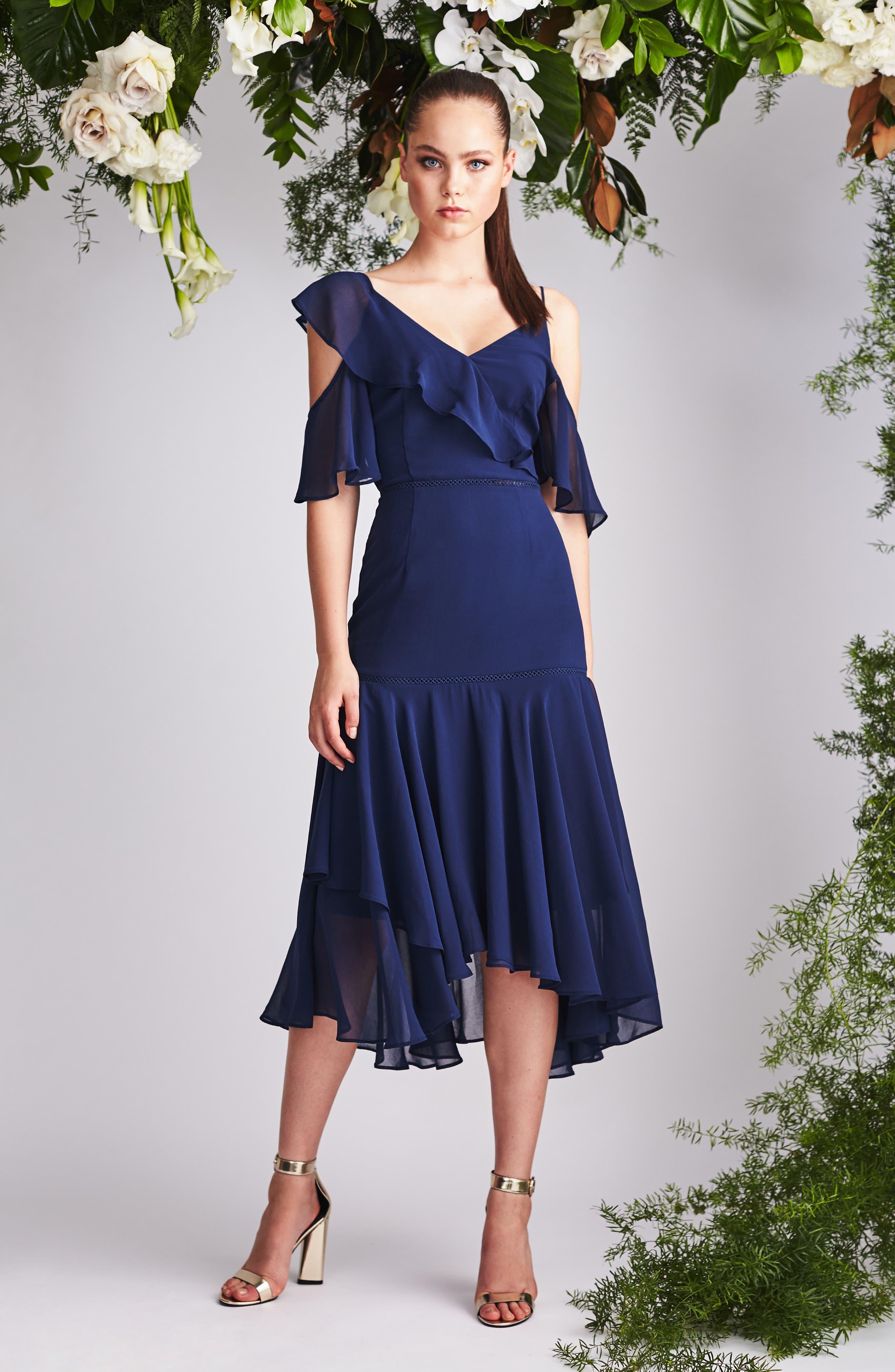 Utopia Cold Shoulder Midi Dress,                             Alternate thumbnail 7, color,                             435
