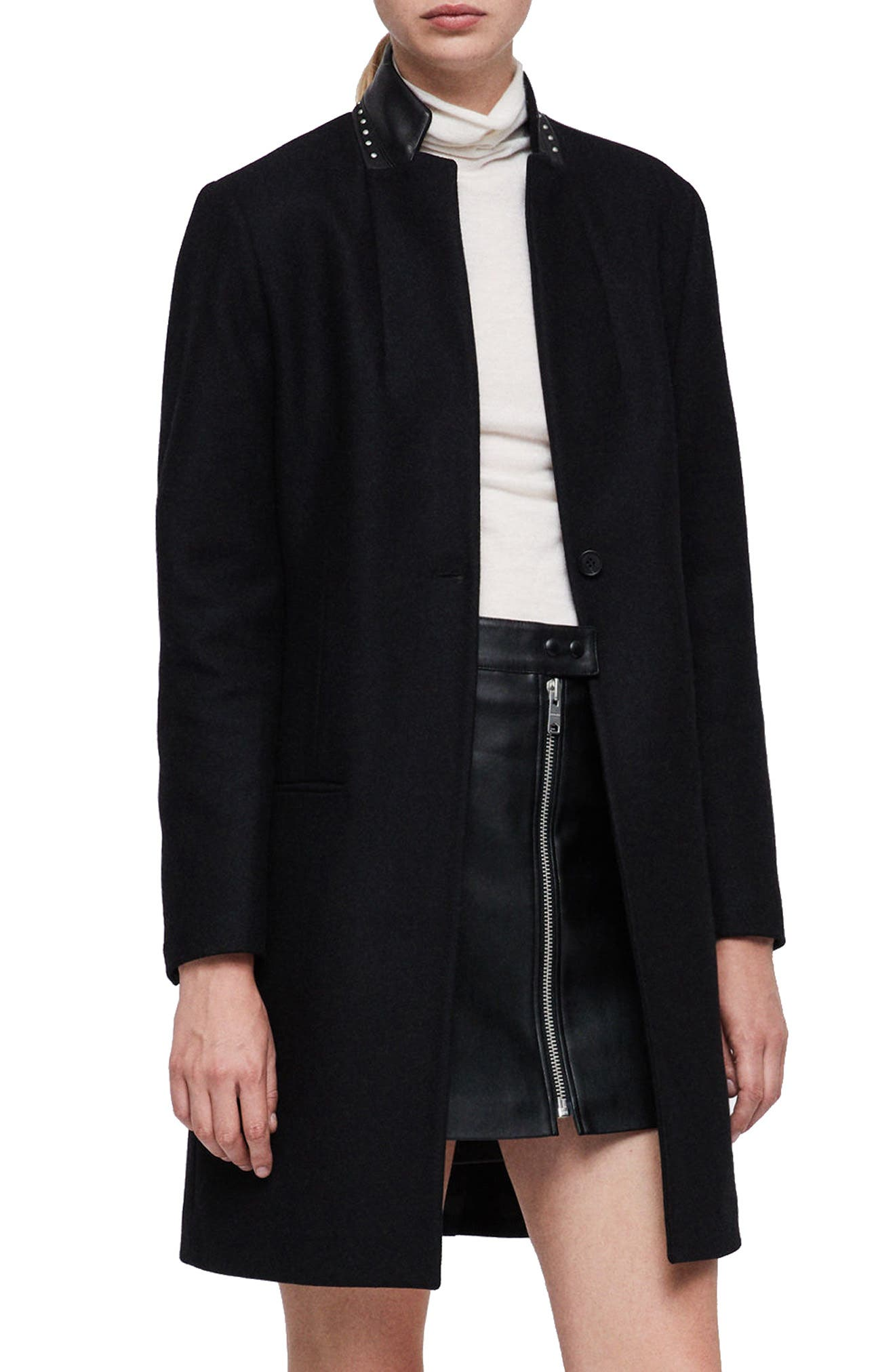 Leni Stud Trim Leather Collar Coat,                             Main thumbnail 1, color,                             BLACK