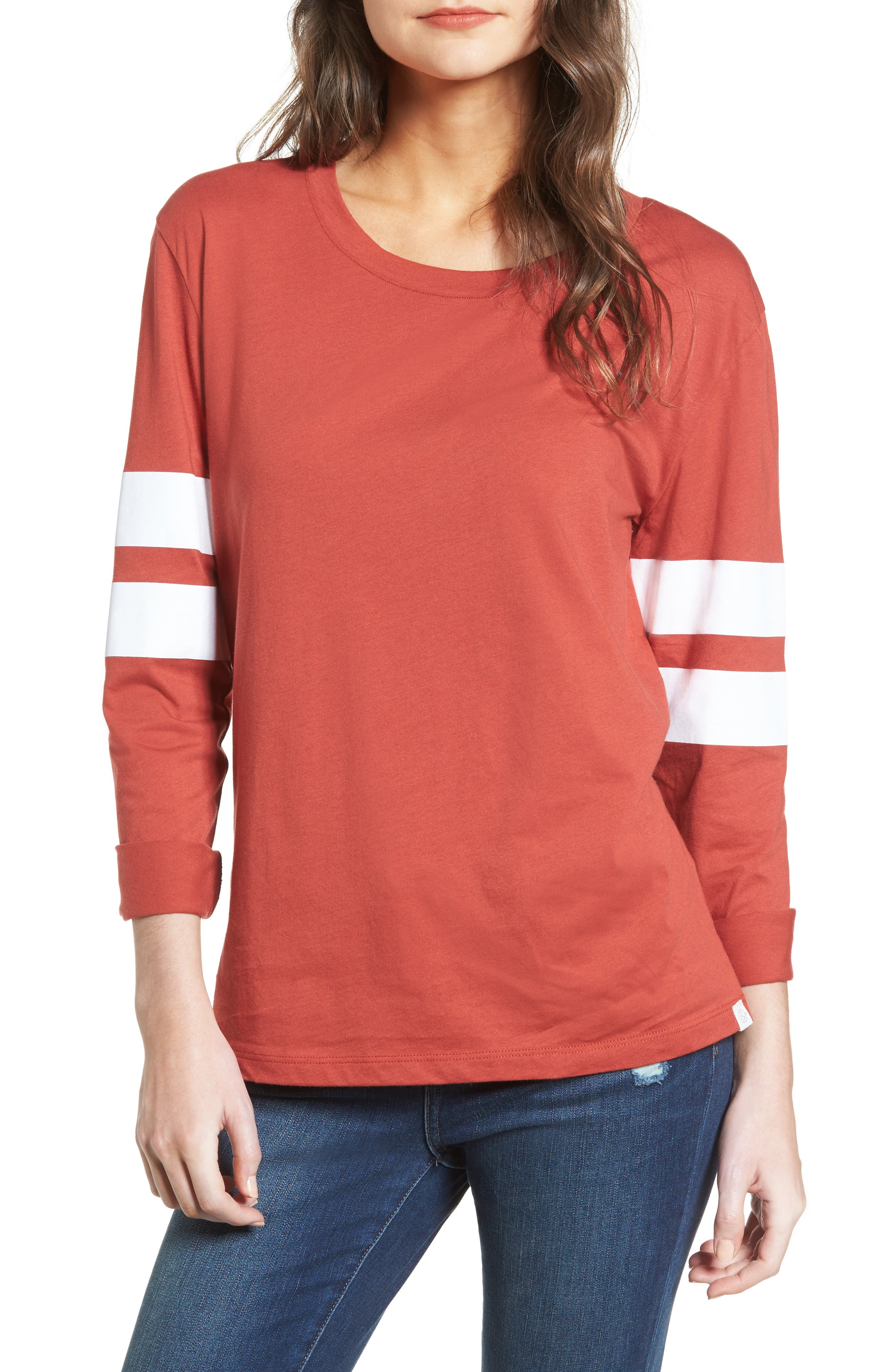 Varsity Stripe Cotton Tee,                             Main thumbnail 9, color,