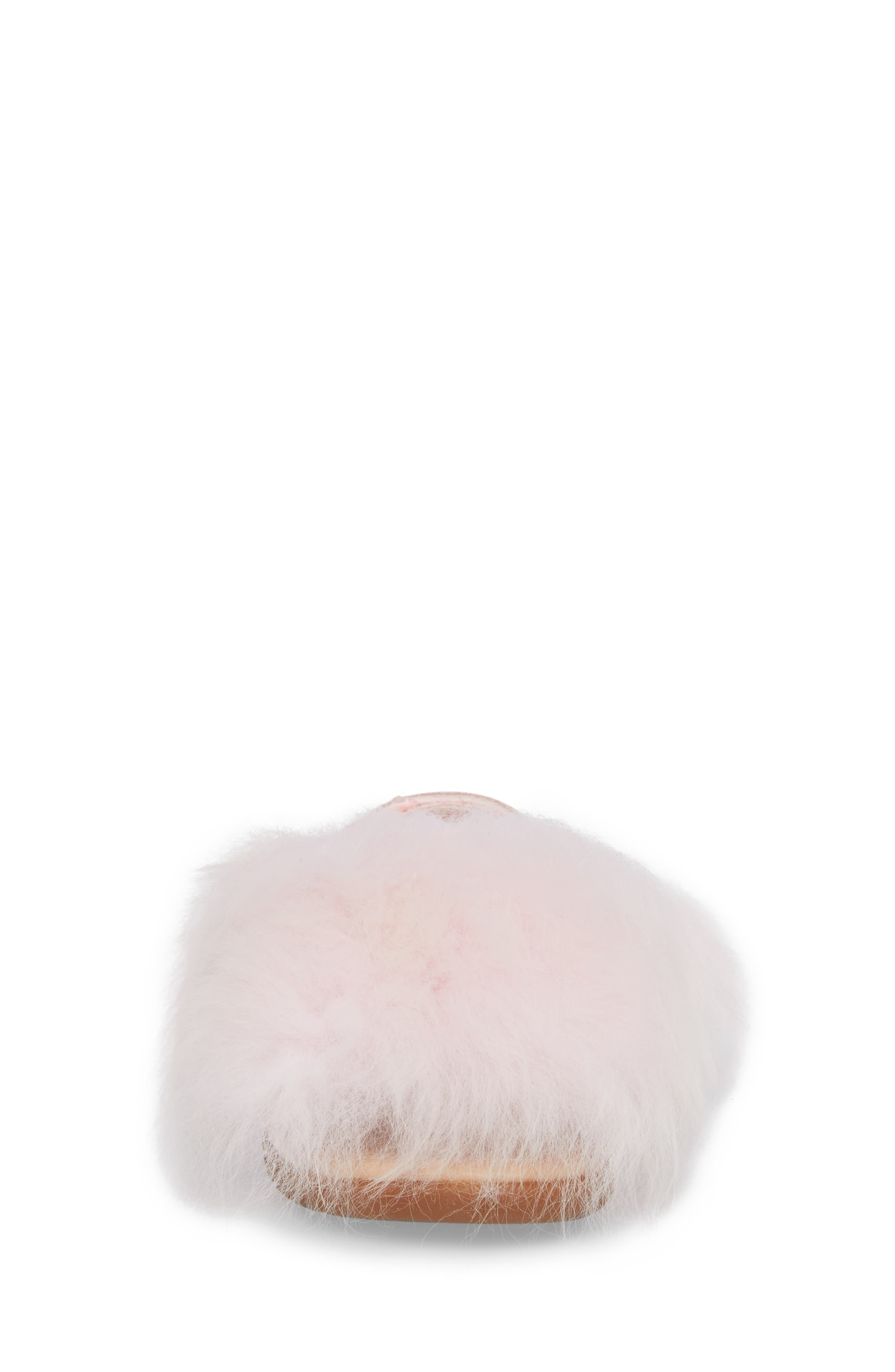 Holly Genuine Shearling Sandal,                             Alternate thumbnail 4, color,                             SEASHELL PINK