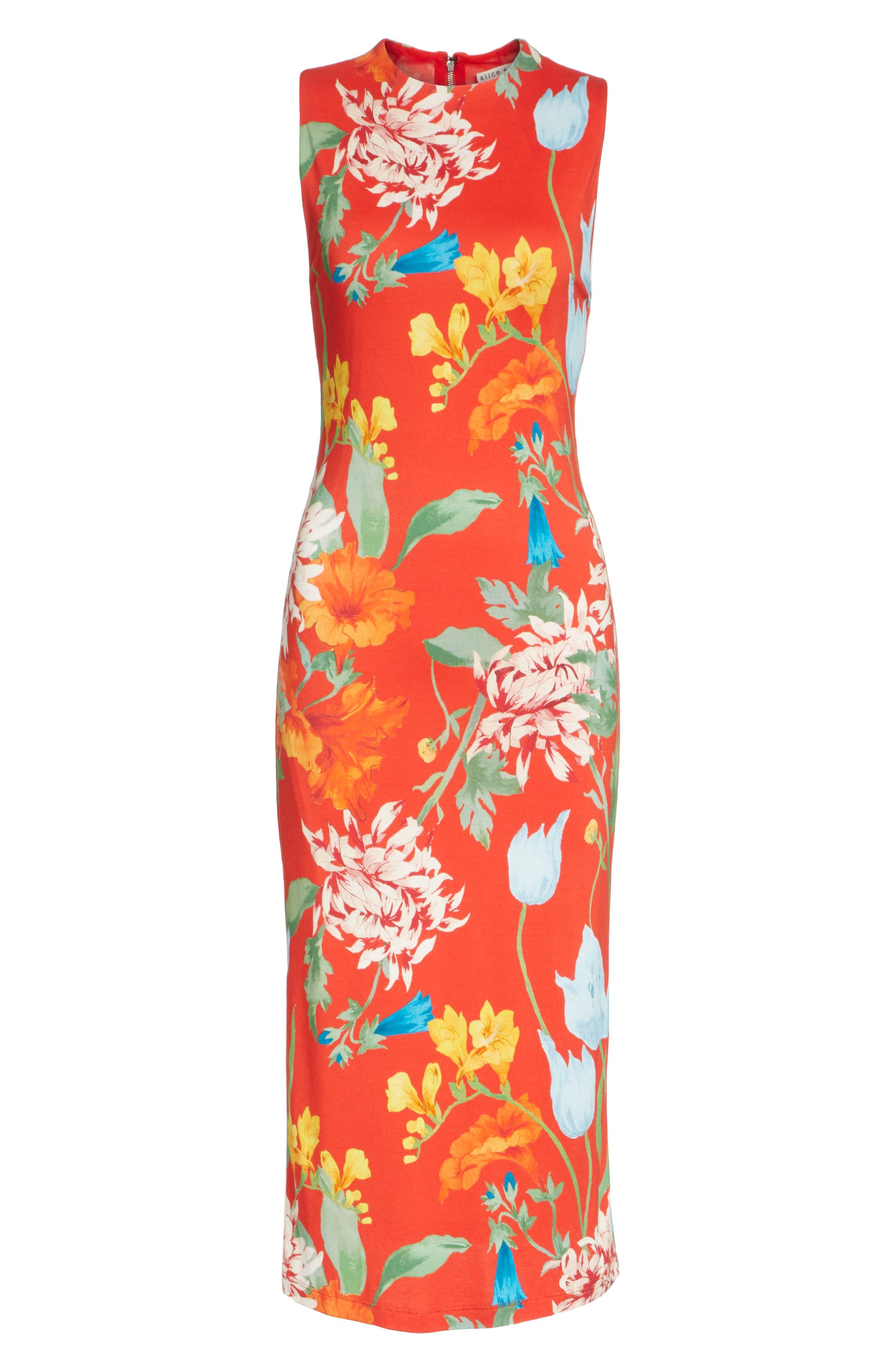 Delora Floral Sleeveless Body-Con Dress,                             Alternate thumbnail 6, color,                             602