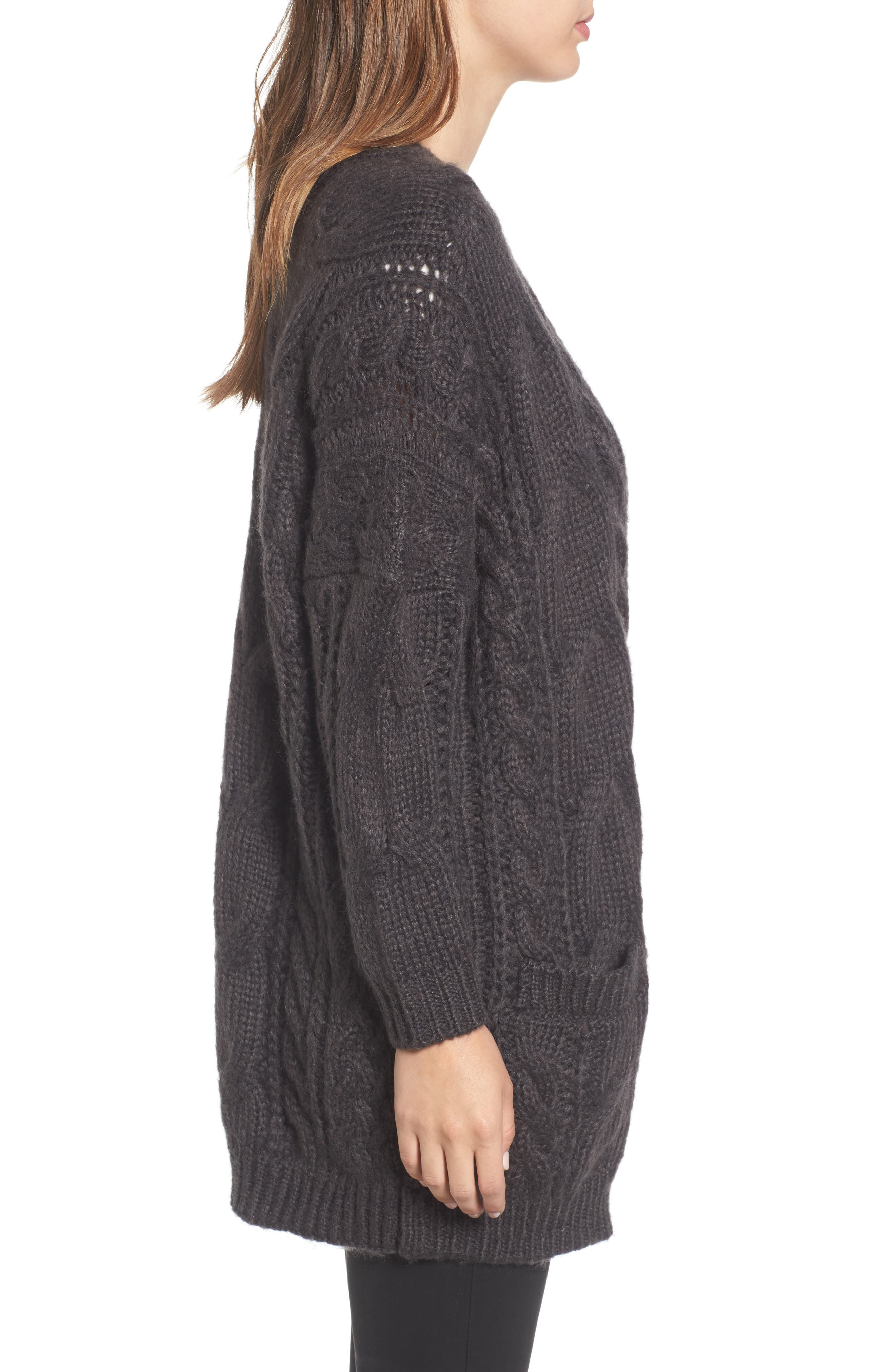Cable Knit Cardigan,                             Alternate thumbnail 3, color,                             030