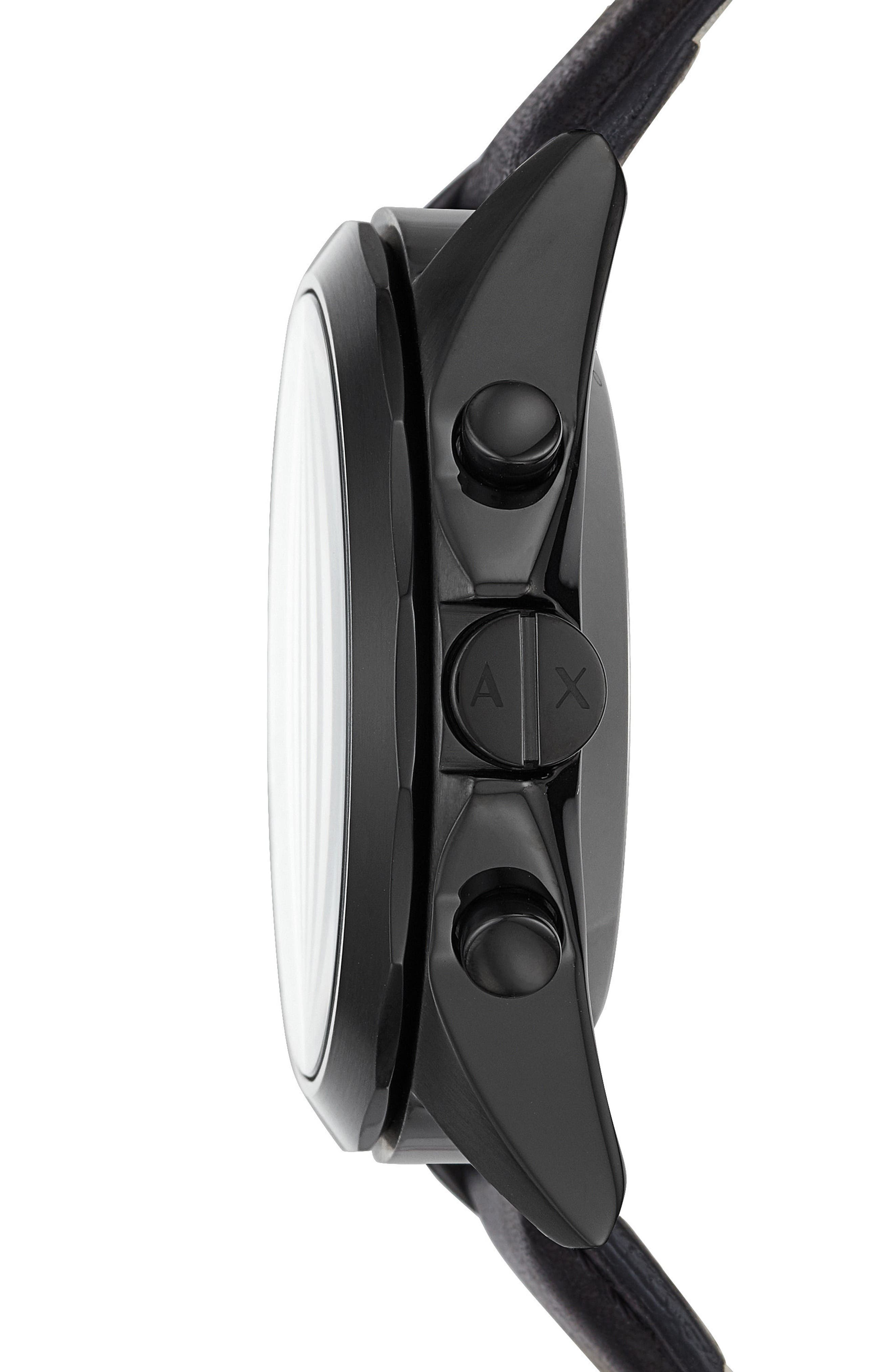 Connected Leather Strap Hybrid Smartwatch, 44mm,                             Alternate thumbnail 3, color,                             001