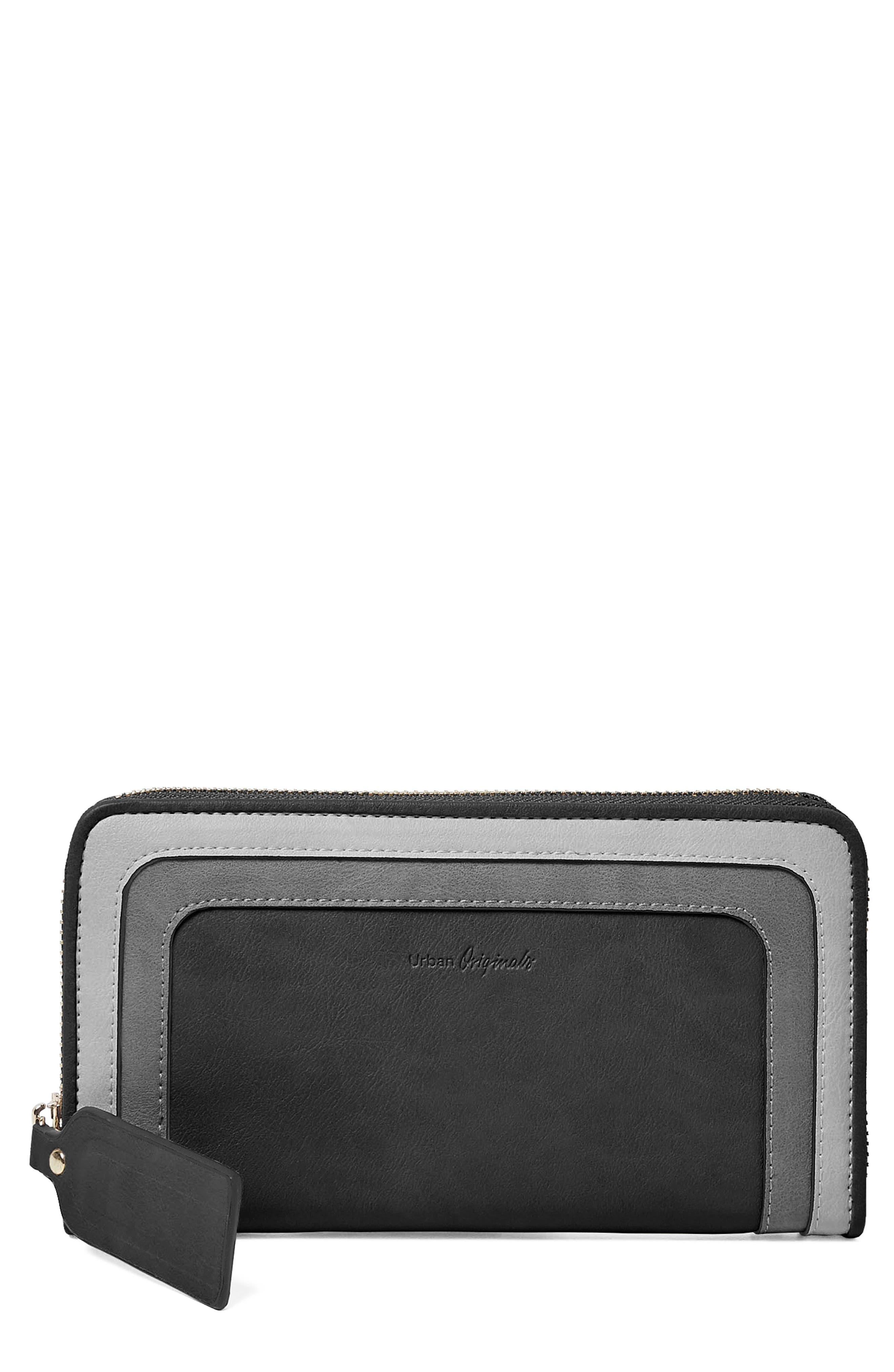 Drama Queen Faux Leather Zip Wallet,                             Main thumbnail 1, color,                             001