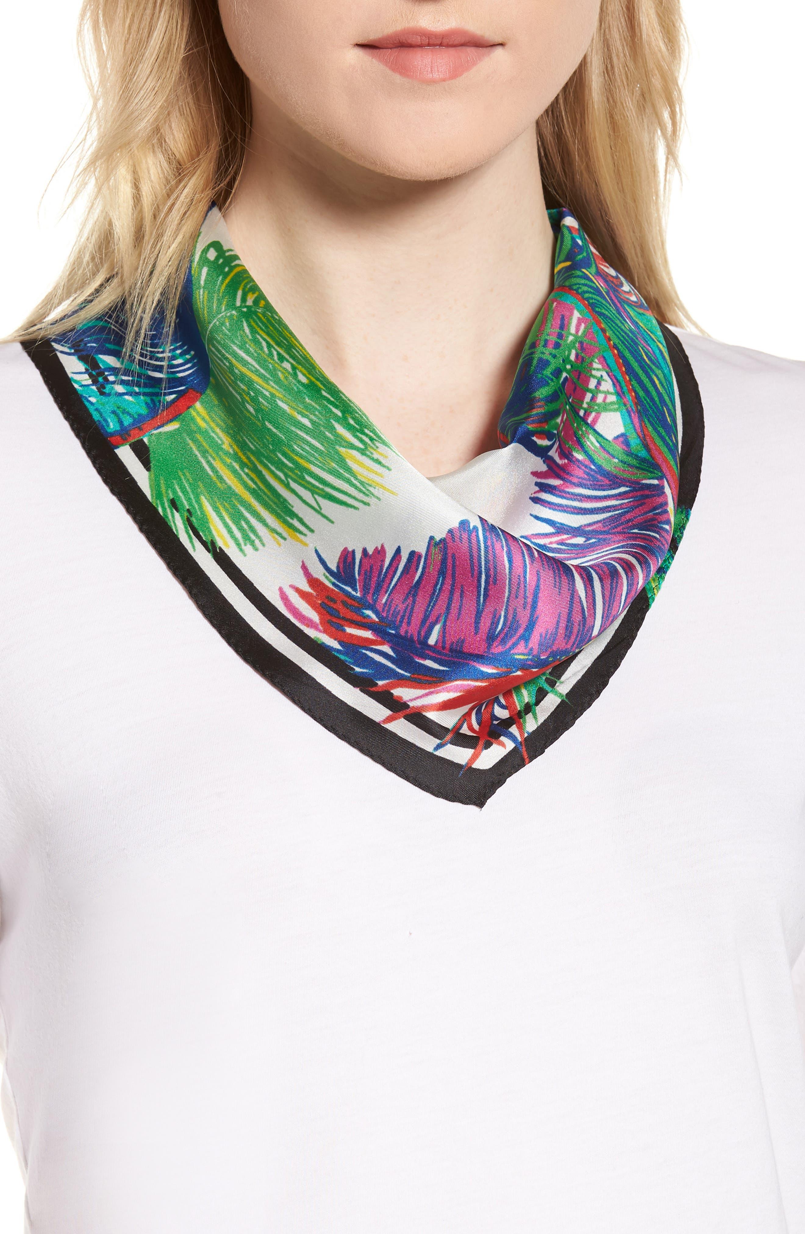 Tasman Palms Diamond Cut Silk Scarf,                         Main,                         color, 100