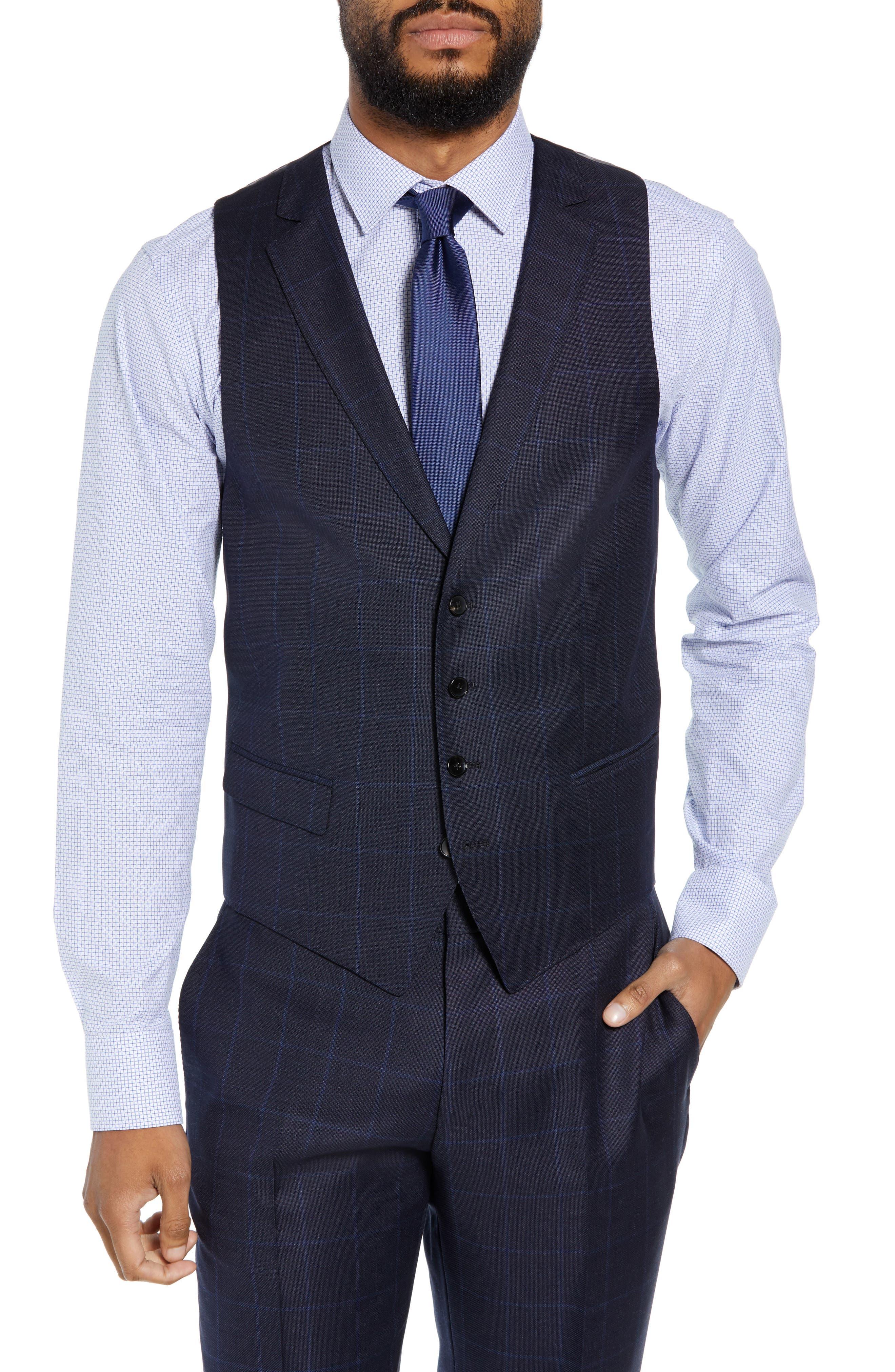 Huge/Genius Trim Fit Windowpane Wool Three-Piece Suit,                             Main thumbnail 1, color,                             480